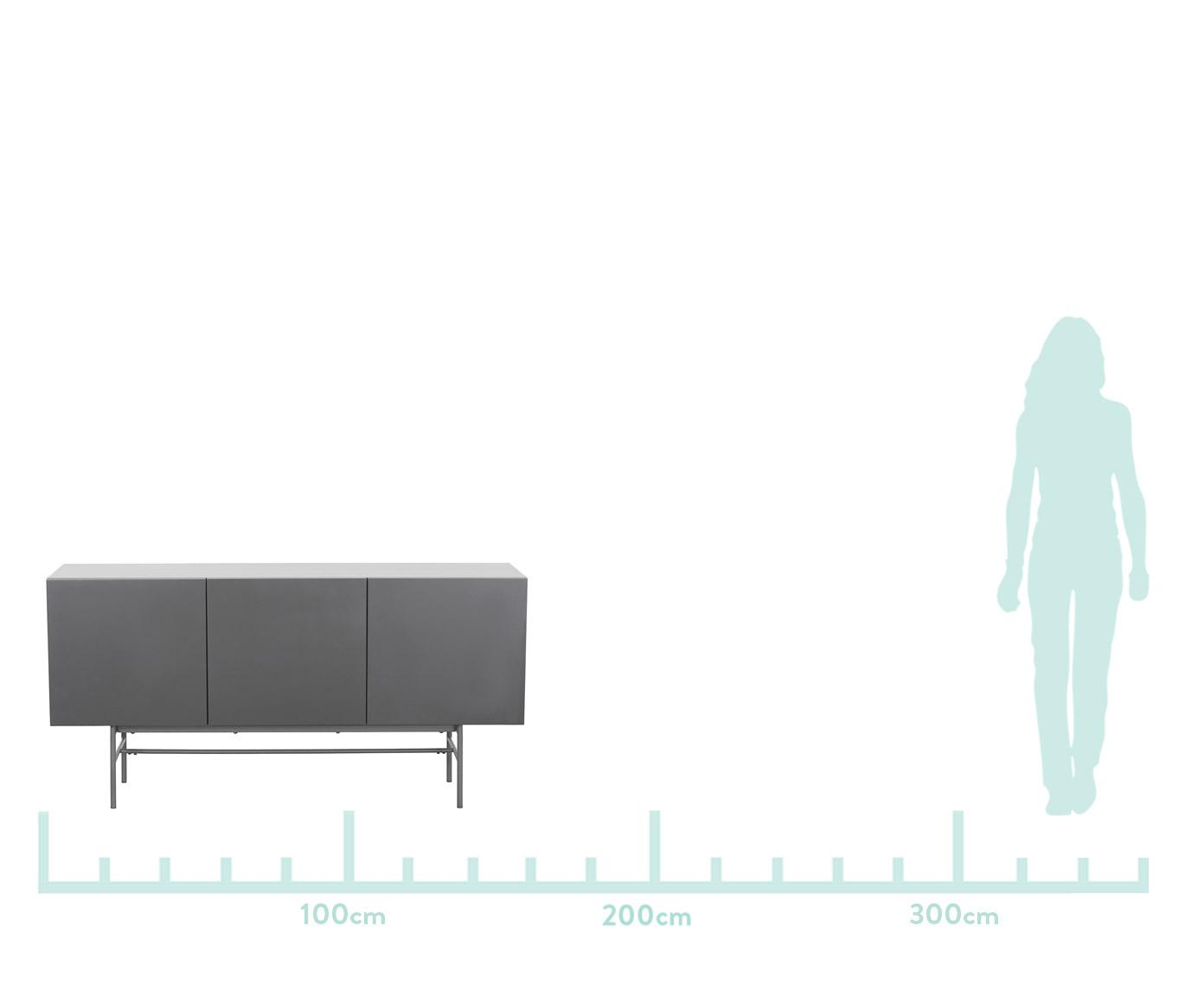 Komoda modern Anders, Korpus: płyta pilśniowa średniej , Nogi: metal malowany proszkowo, Korpus: szary Nogi: szary, matowy, S 160 x W 80 cm