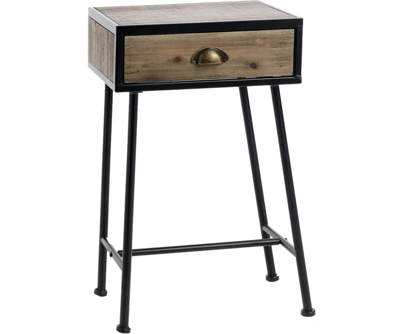 Mesilla de noche Coquille, Negro, beige, An 40 x Al 65 cm