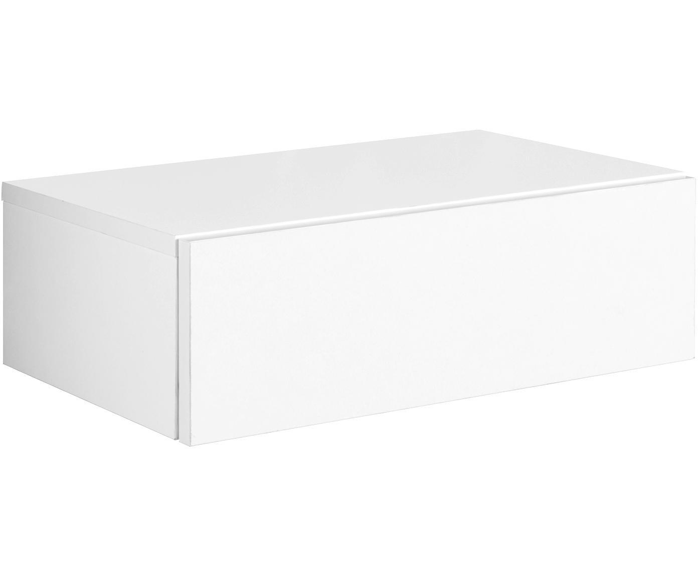 Comodino a muro con cassetto Dream, Gambe: legno di quercia Corpo e frontale: bianco, opaco, Larg. 46 x Alt. 15 cm