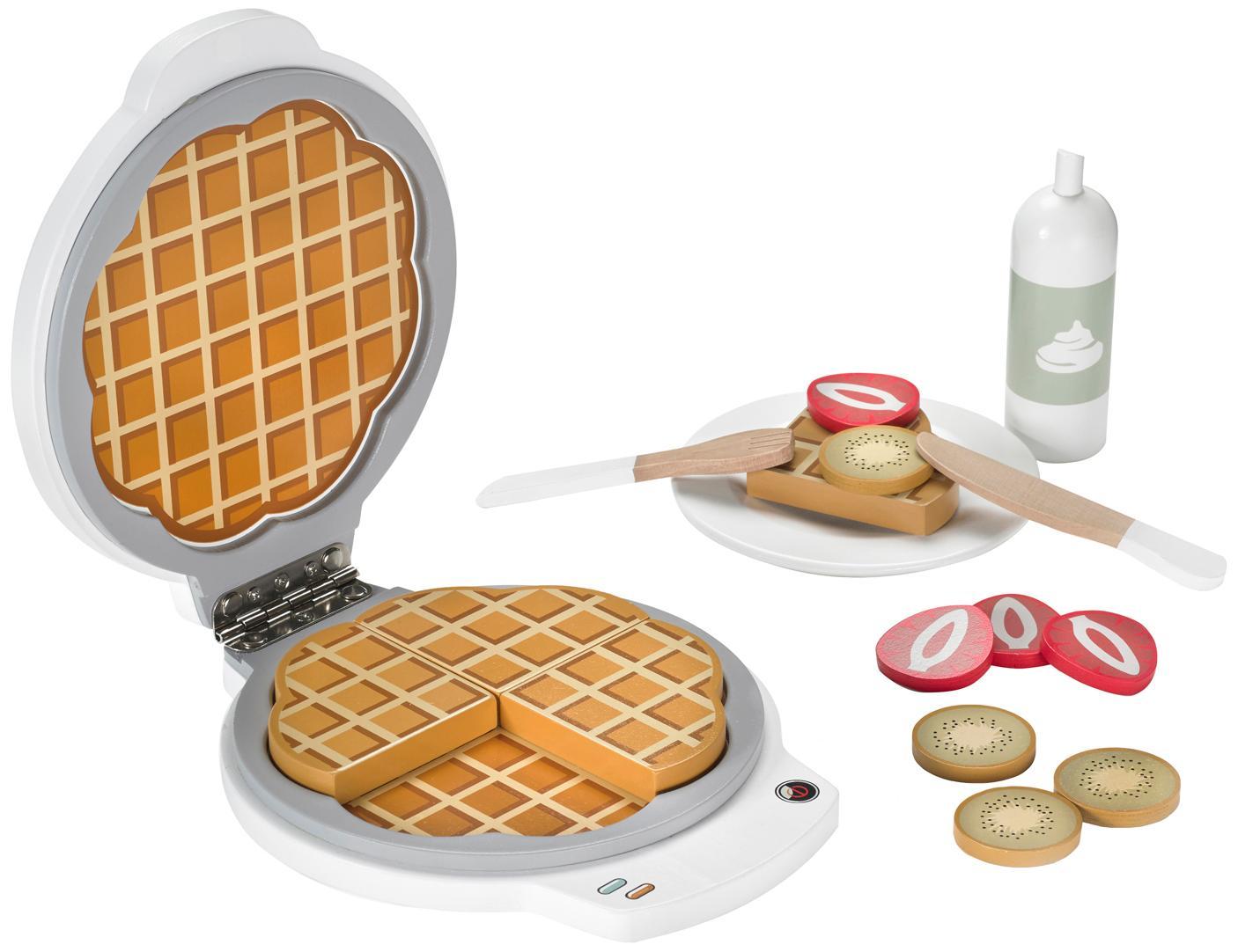 Spielzeug-Set Waffeleisen, Schimaholz, Mitteldichte Holzfaserplatte (MDF), Sperrholz, beschichtet, Mehrfarbig, 18 x 4 cm