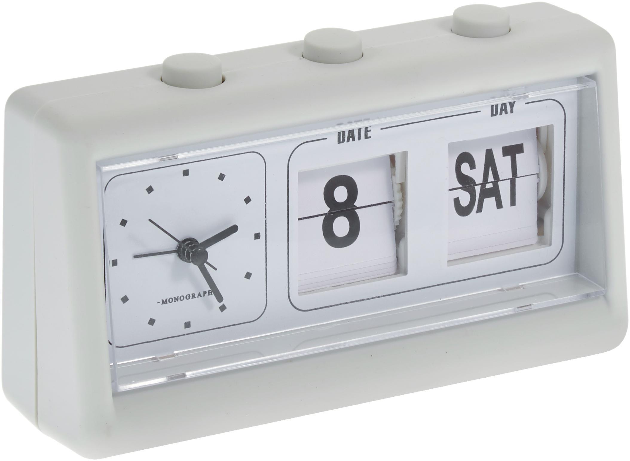 Despertador Retro, Caja: PVC, Pantalla: plástico, Gris claro, An 19 x Al 11 cm