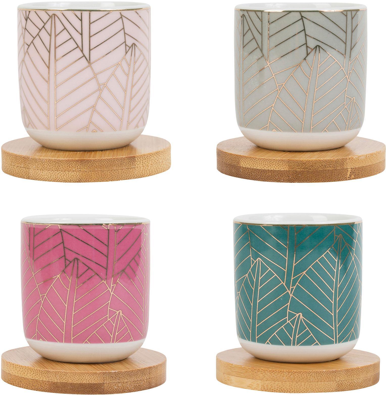 Tazas pequeñas con posavasos de bambú Orfe, 4uds., Multicolor, Ø 6 x Al 7 cm