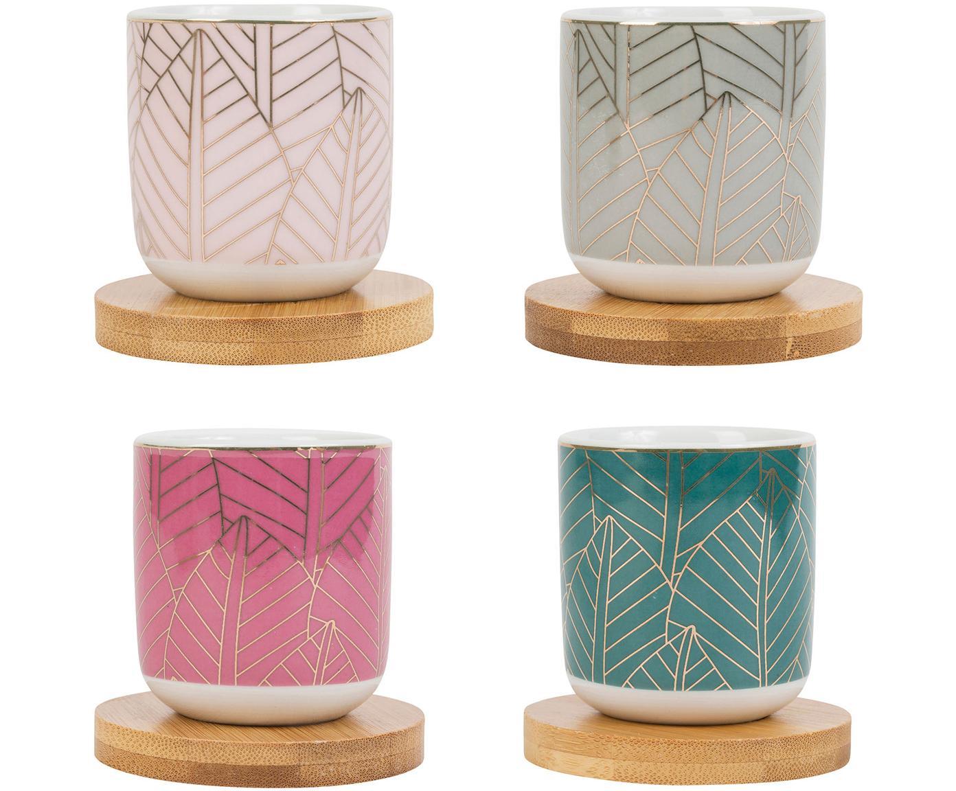 XS Becher mit Bambusuntersetzer Orfe, 8er-Set, Becher: Porzellan, Untersetzer: Bambus, Mehrfarbig, Ø 6 x H 7 cm