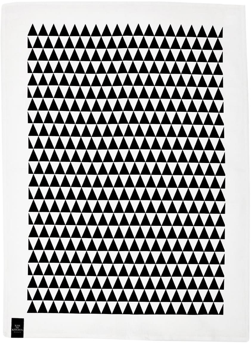 Paños de cocina de lino y algodón Dreieck, 2uds., 50%lino, 50%algodón, Blanco, negro, An 50 x L 70 cm
