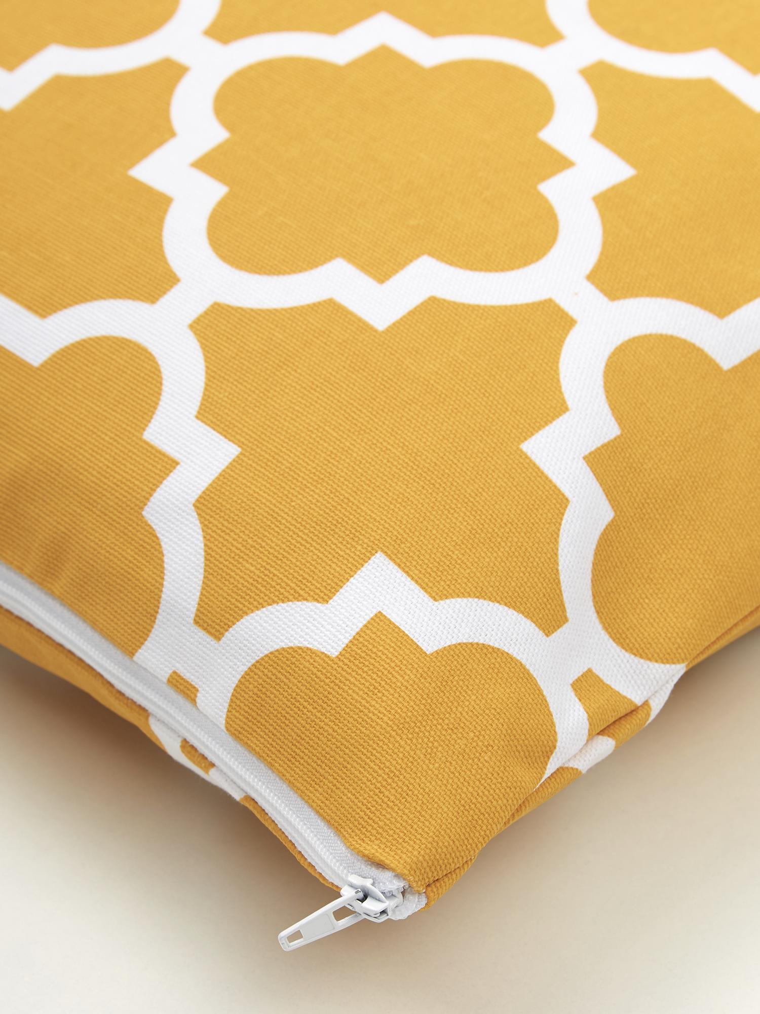 Housse de coussin 45x45 graphique Lana, Jaune moutarde, blanc