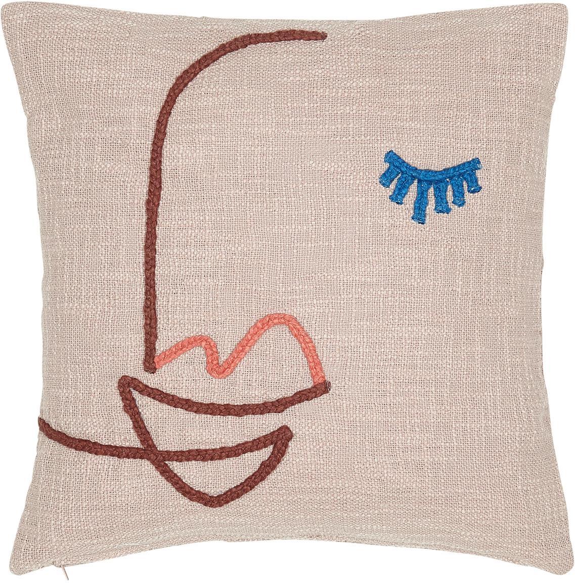 Funda de cojín bordada de algodón ecológico Faces, 100%algodón ecológico, Rosa, rojo oscuro, azul, An 45 x L 45 cm
