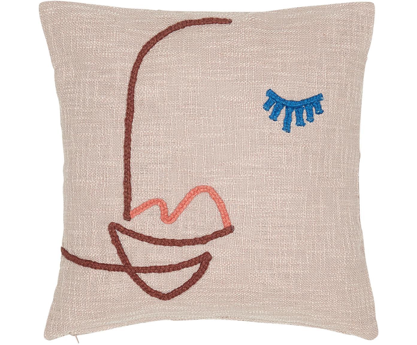 Funda de cojín bordada de algodón ecológico Faces, Algodón ecológico, Rosa, rojo oscuro, azul, An 45 x L 45 cm