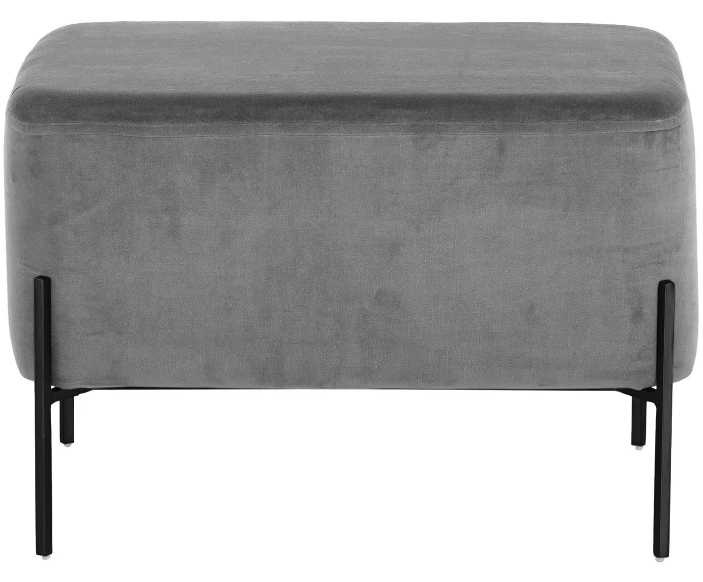 XL Samt-Hocker Harper, Bezug: Baumwollsamt, Grau, Schwarz, 64 x 44 cm