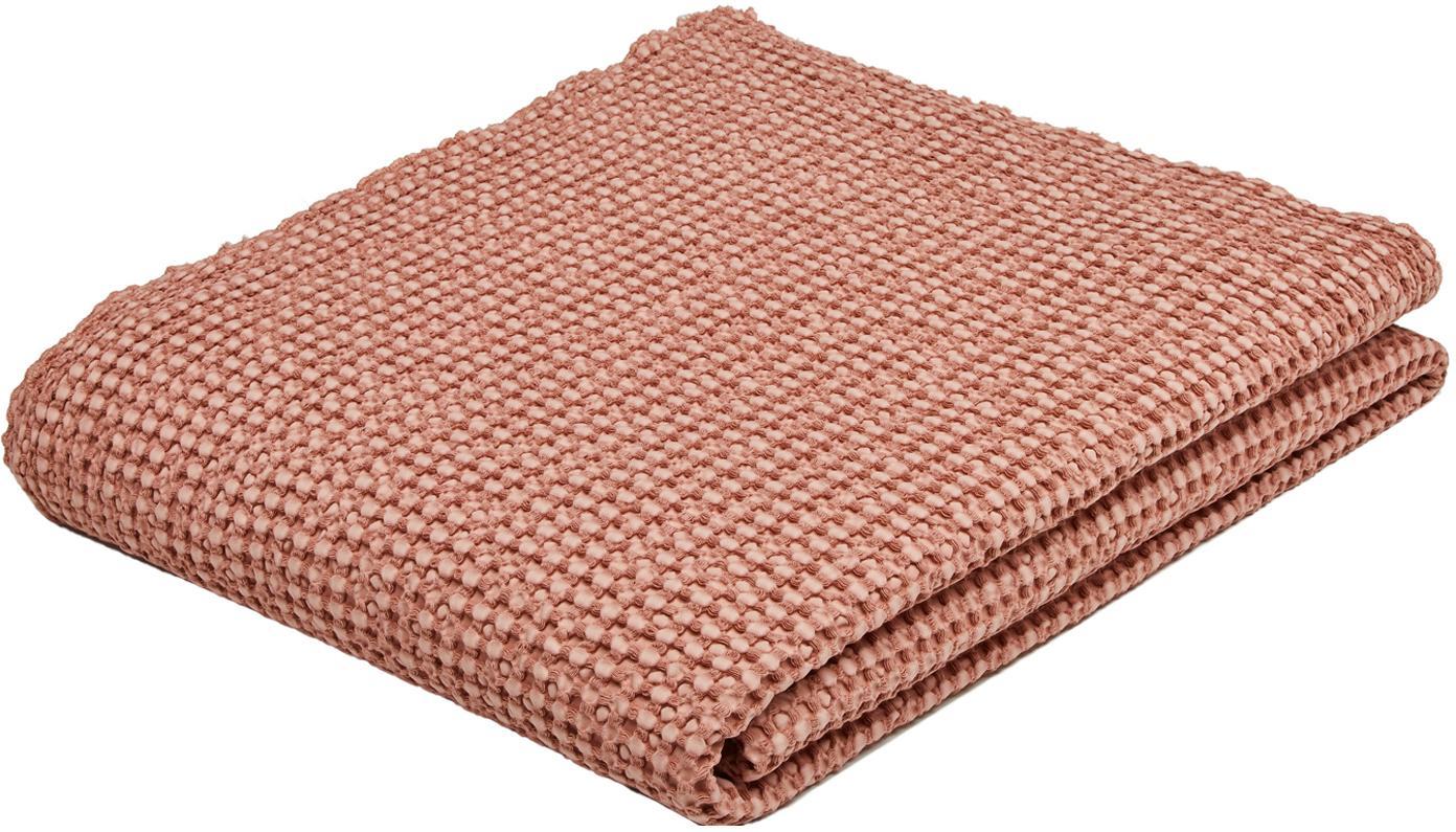 Narzuta ze strukturalną powierzchnią Vigo, 100% bawełna, Jasny blady różowy, S 220 x D 240 cm