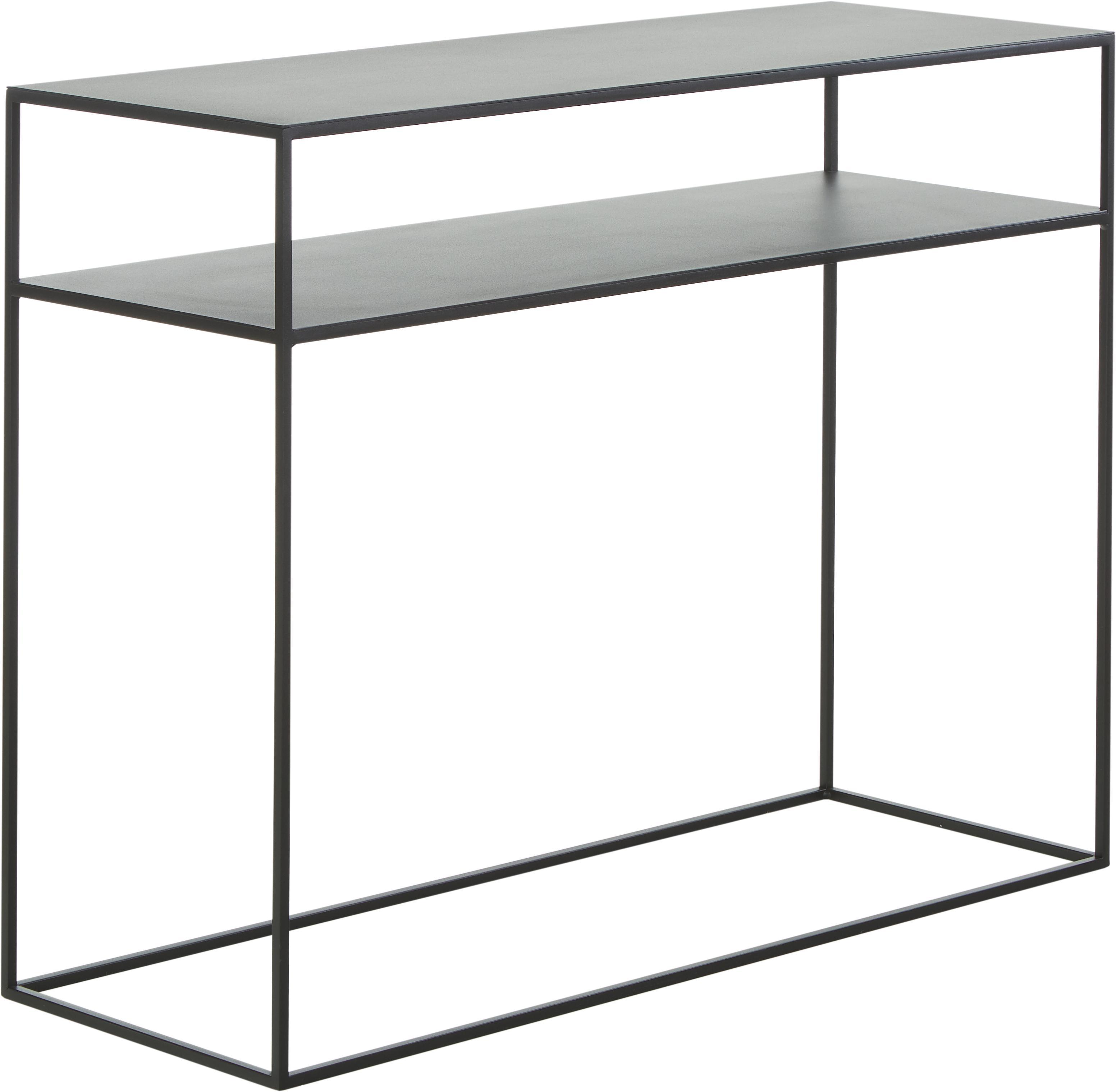 Consolle in metallo nero Tensio Duo, Metallo verniciato a polvere, Nero, Larg. 100 x Prof. 35 cm