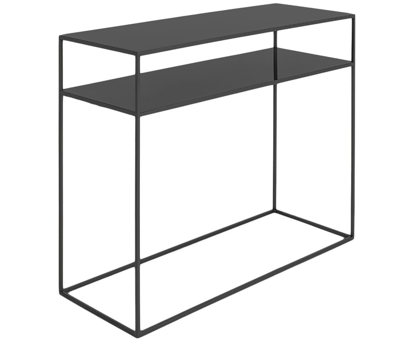 Metalen sidetable Tensio Duo in zwart, Gepoedercoat metaal, Zwart, B 100 x D 35 cm