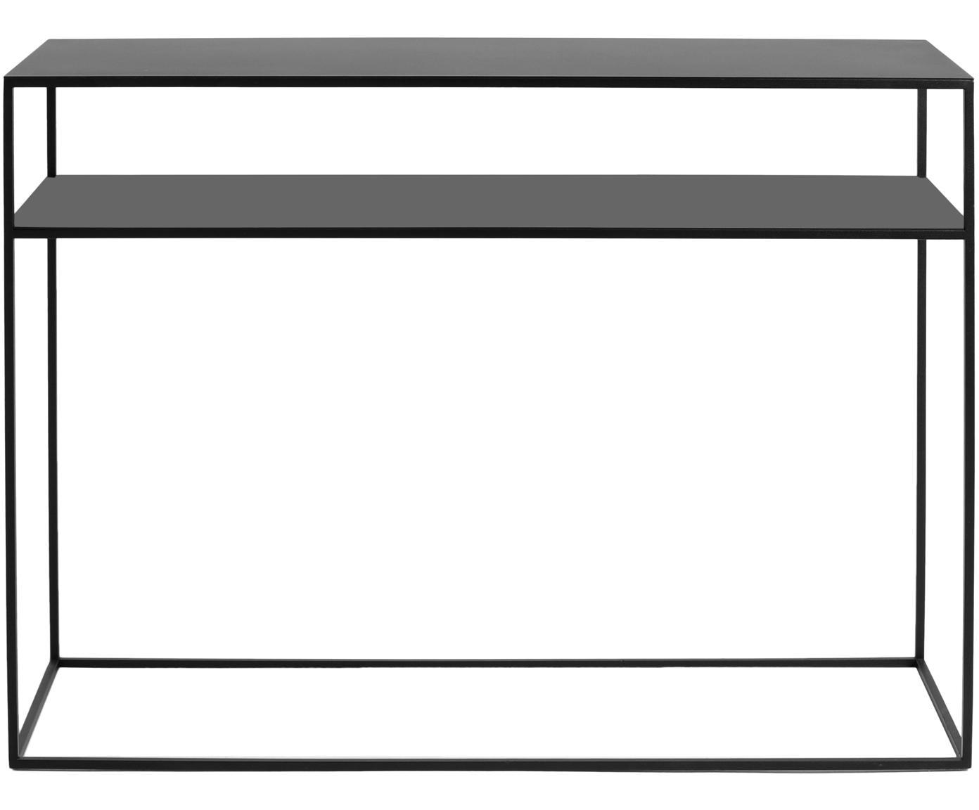 Konsola z metalu Tensio Duo, Metal malowany proszkowo, Czarny, S 100 x G 35 cm