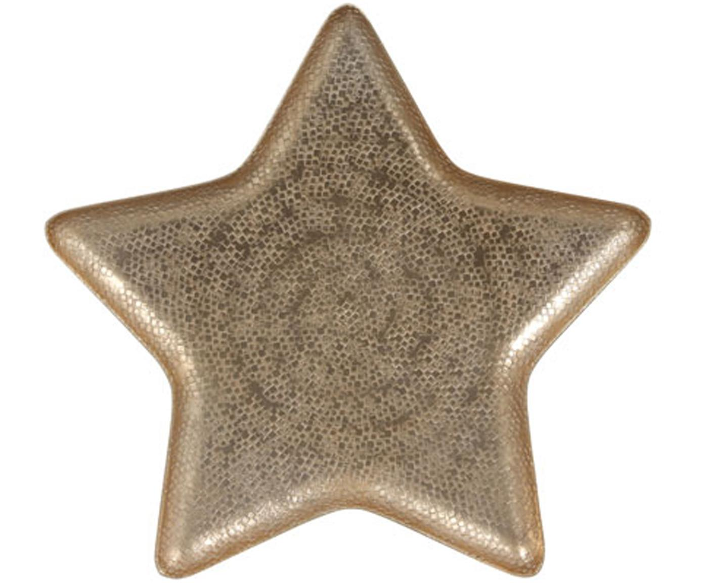 Decoratieve schaal Star, Gecoat aluminium, Mat messingkleurig, 25 x 2 cm
