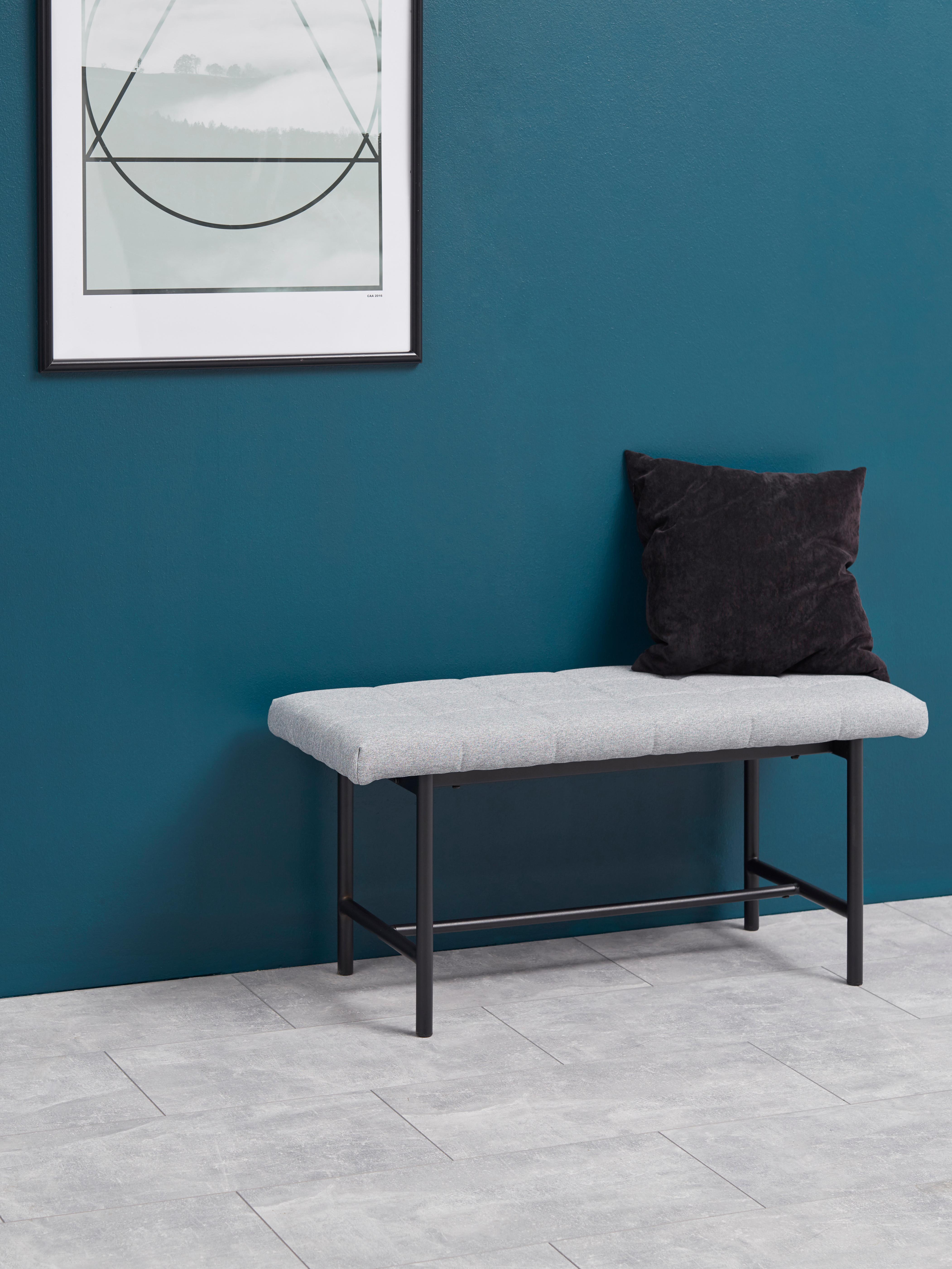 Design Polsterbank Sigfrid, Bezug: Polyester 25.000 Scheuert, Gestell: Schichtholz, Beine: Metall, pulverbeschichtet, Hellgrau, 100 x 47 cm