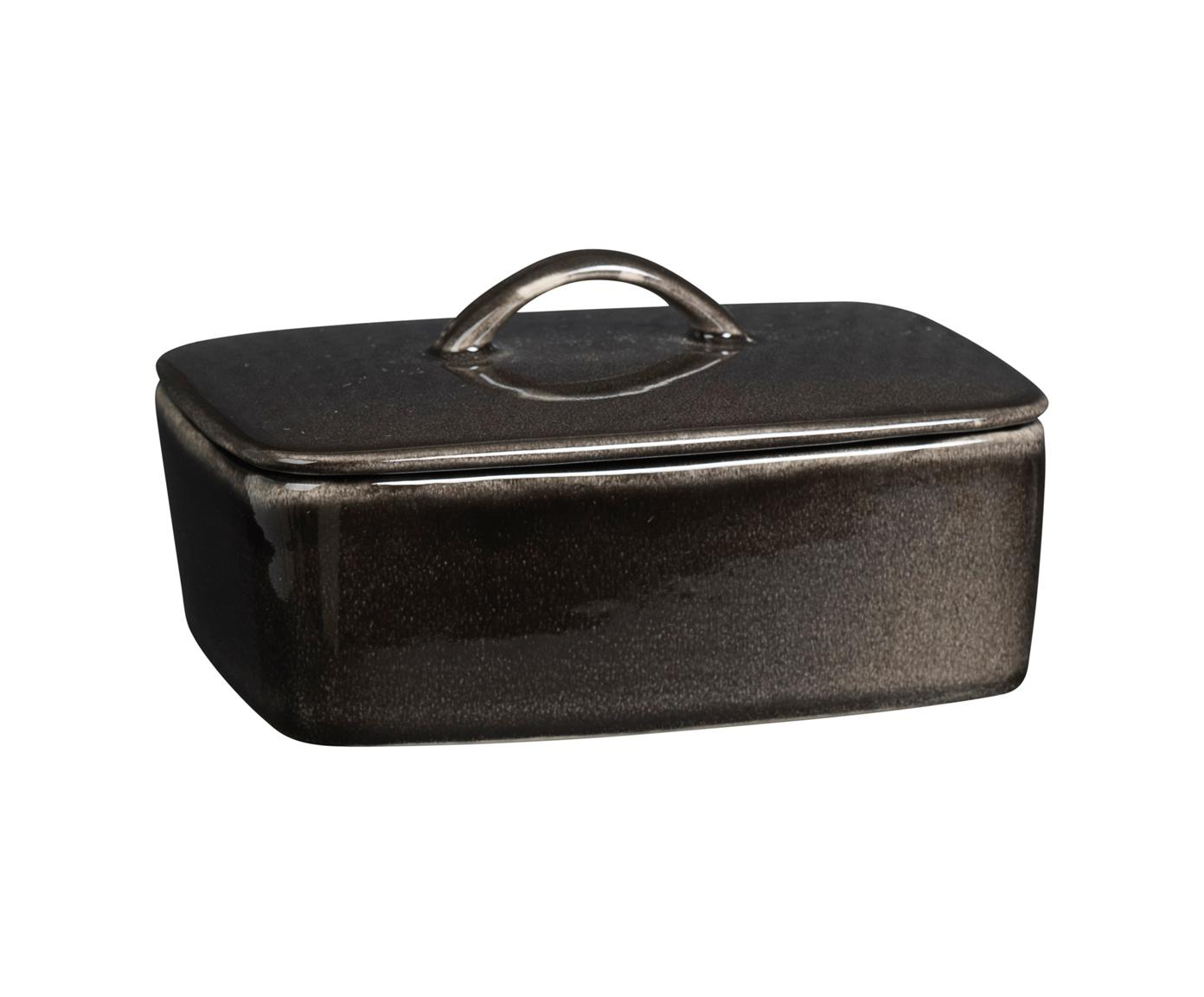 Burriera in terracotta fatta a mano  Nordic Coal, Terracotta, Marrone scuro, Larg. 15 x Alt. 6 x Prof. 12 cm