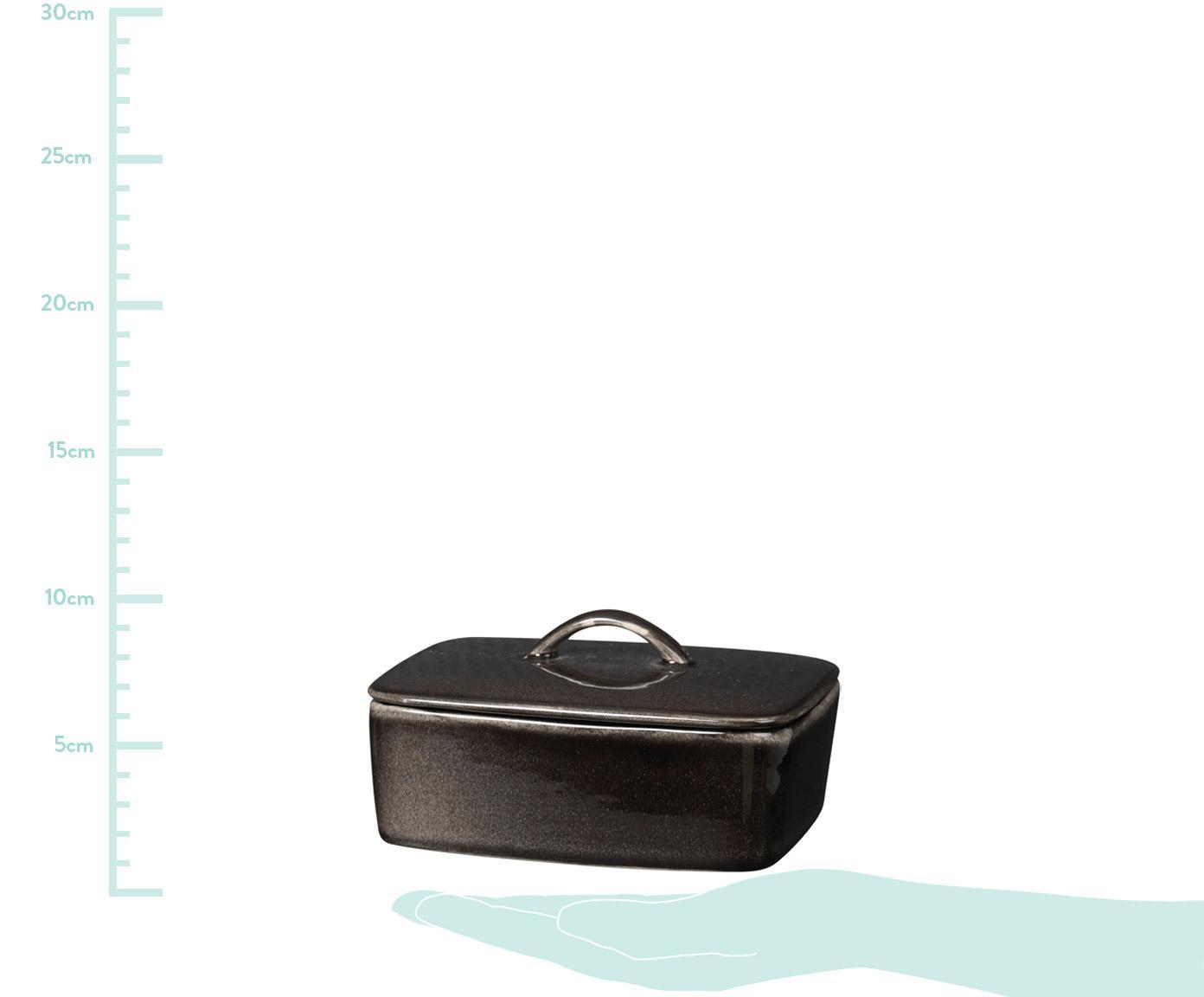 Handgemachte Butterdose Nordic Coal aus Steingut, Steingut, Bräunlich, 15 x 6 cm