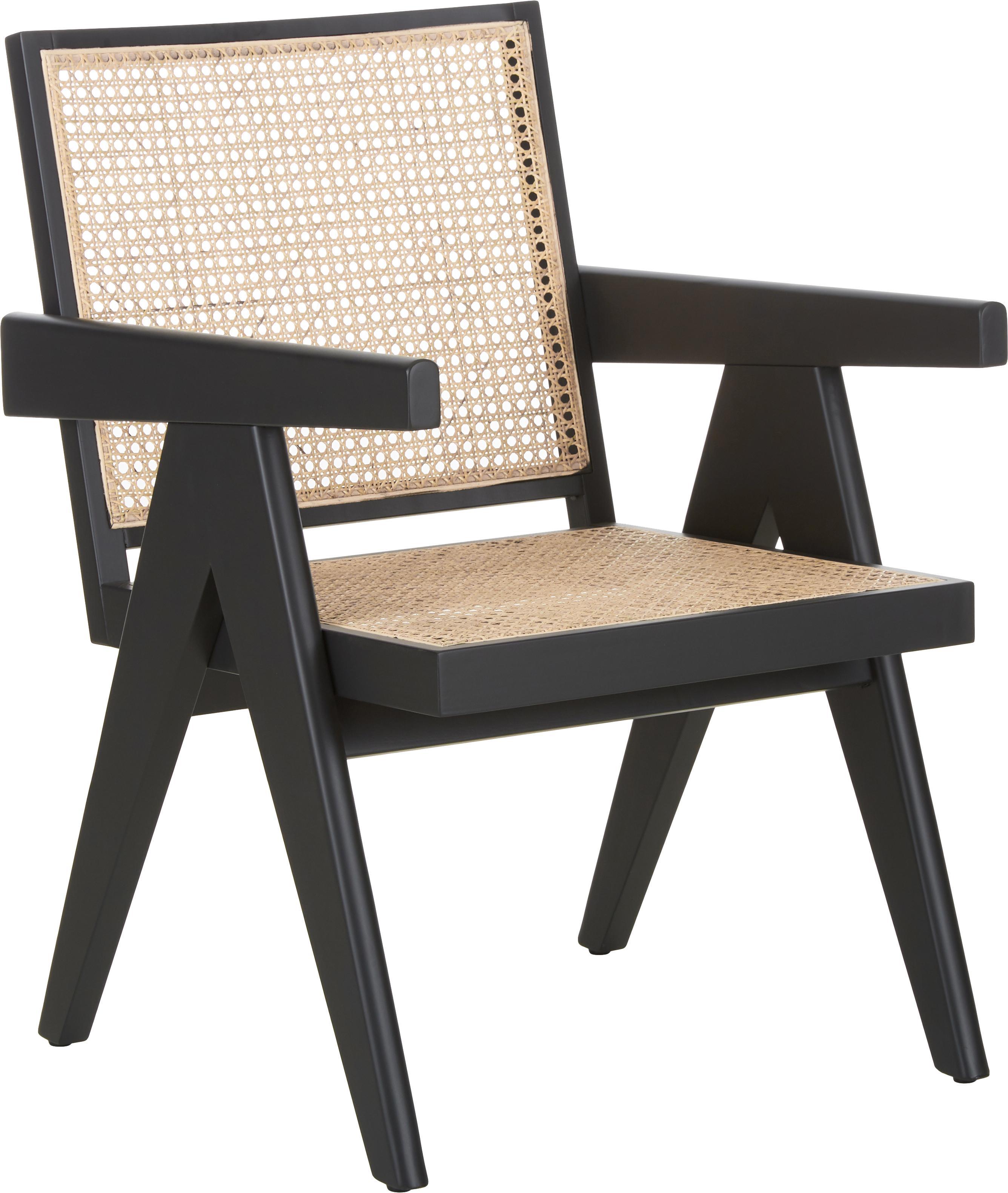 Sillón Sissi, Estructura: madera de haya pintada, Asiento: ratán, Negro, beige, An 58 x F 66 cm