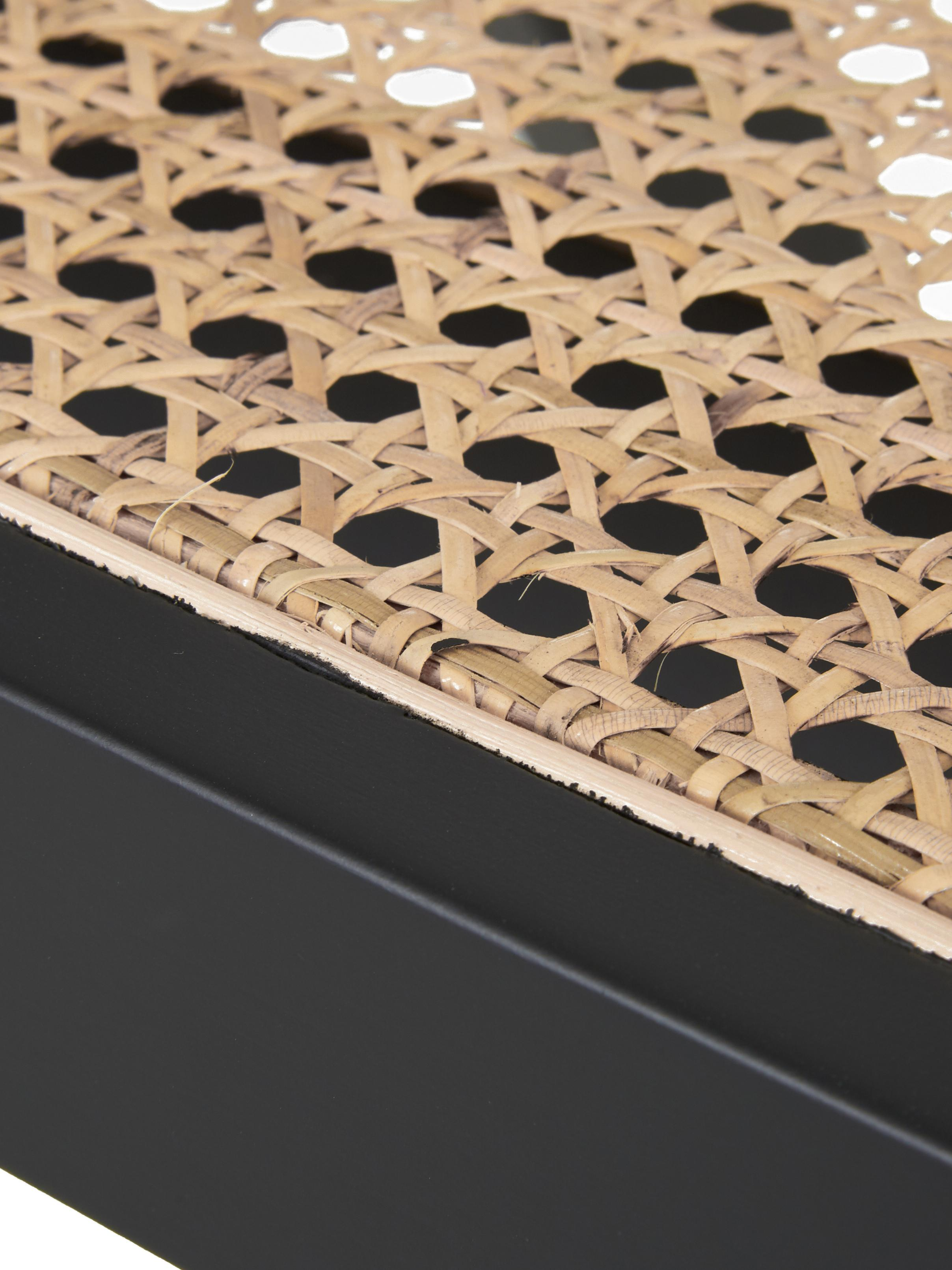 Poltrona con intreccio viennese Sissi, Struttura: legno di faggio verniciat, Seduta: rattan, Nero, beige, Larg. 58 x Prof. 66 cm