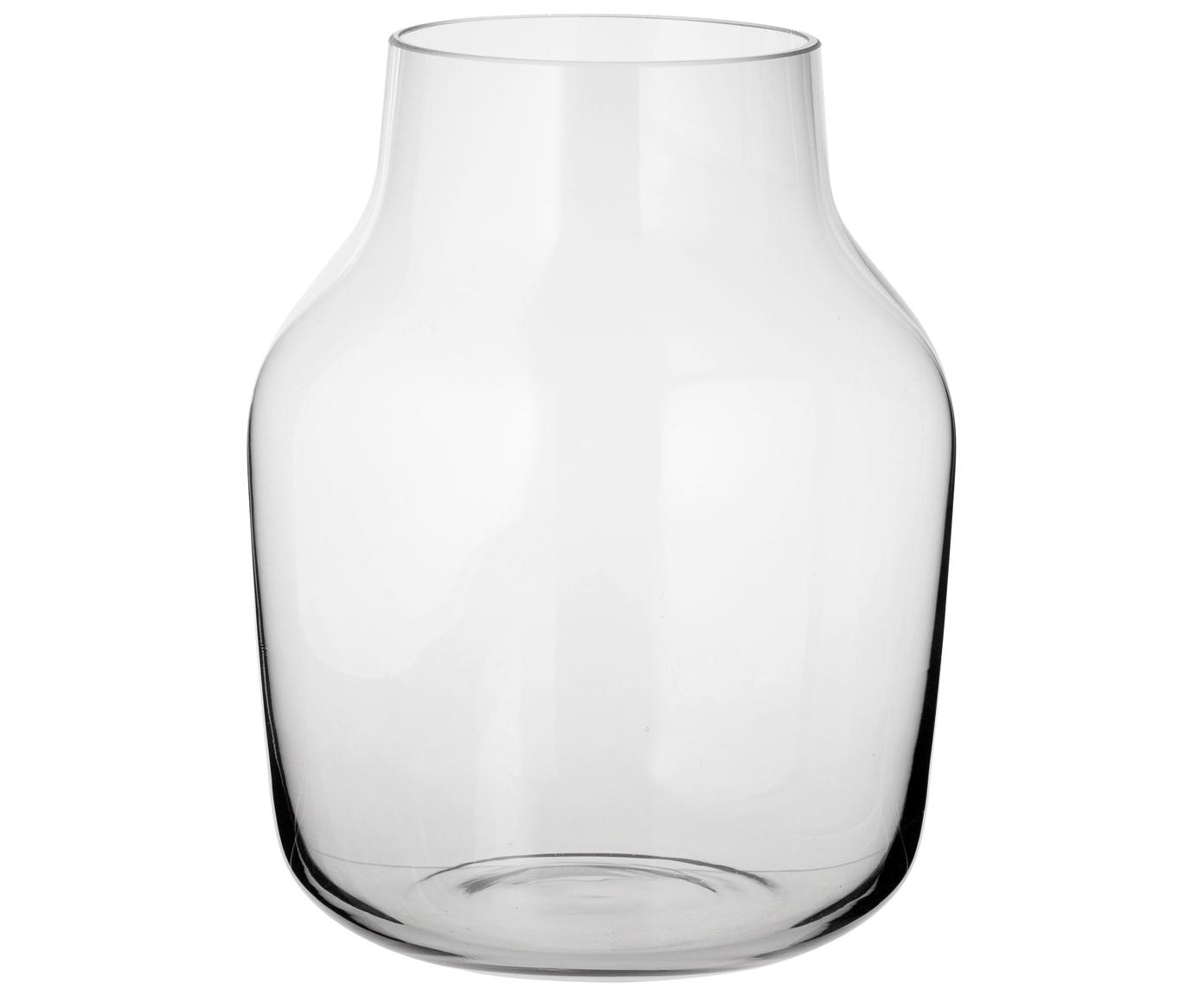 Mundgeblasene Design-Vase Silent, Glas, Grau, Transparent, H 19 cm