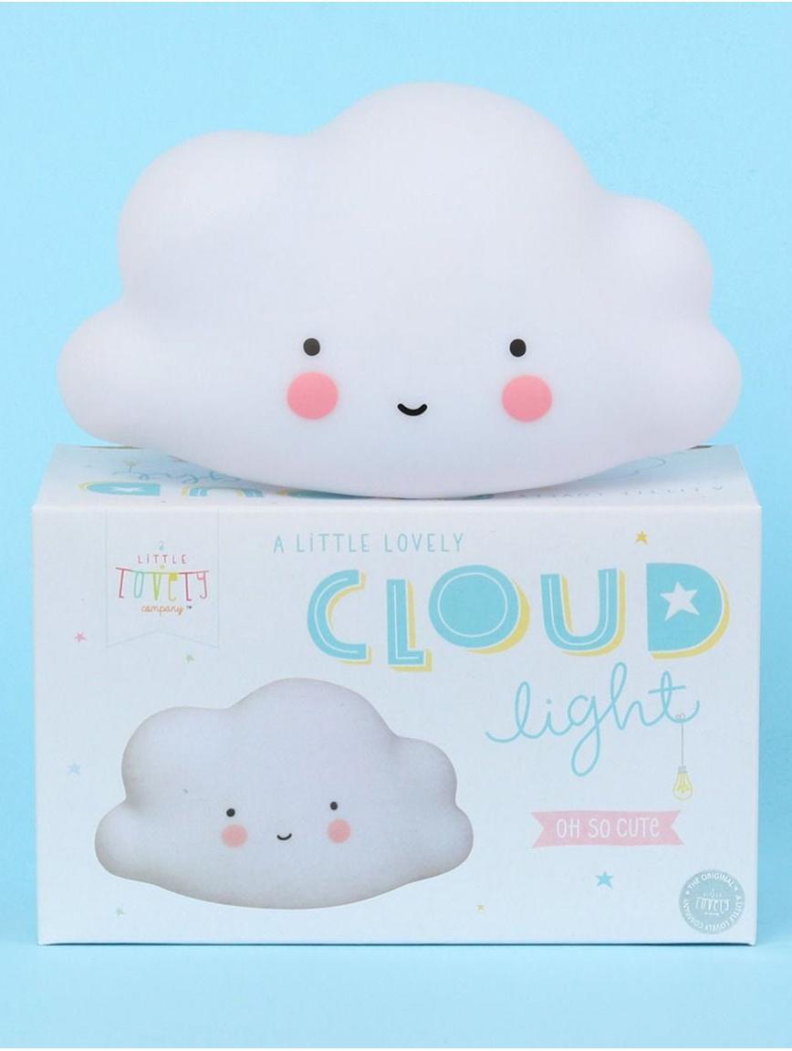 Kleines LED Leuchtobjekt Cloud mit Timer, Kunststoff, BPA- und Bleifrei, Weiß, Rosa, Schwarz, 17 x 10 cm