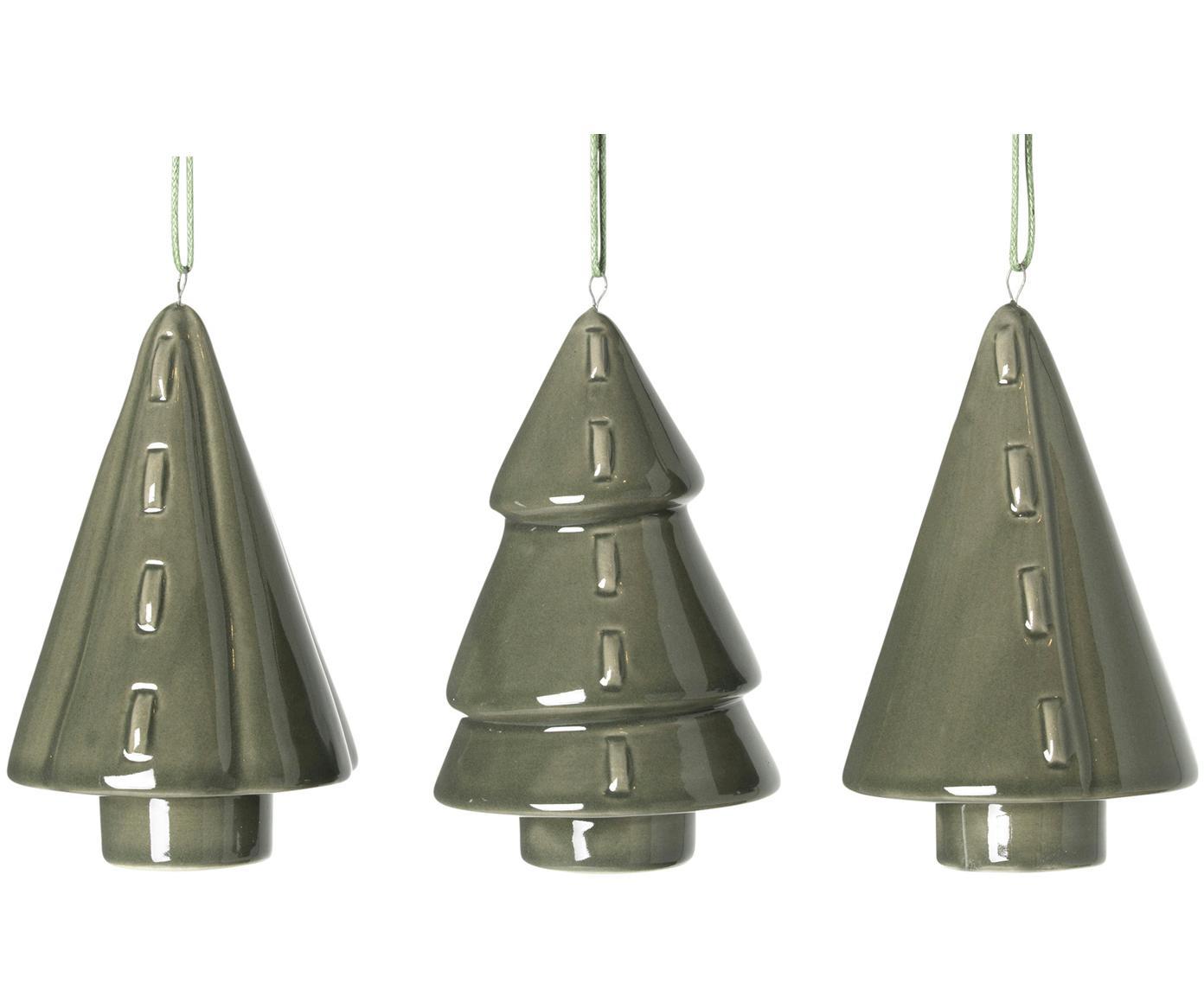 Kerstboomhangersset Trees, 3-delig, Porselein, Donkergroen, Ø 5 x H 9 cm