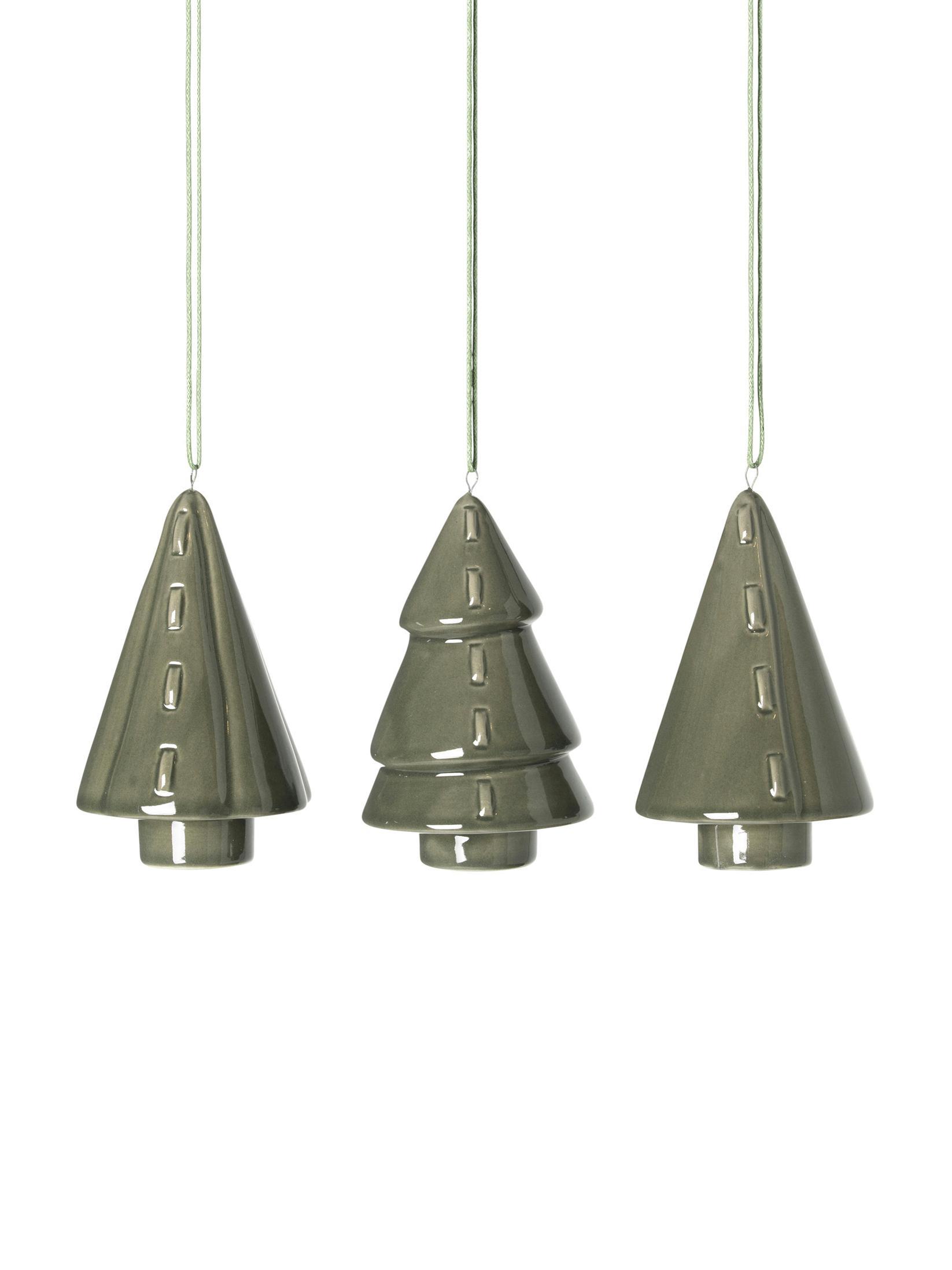 Set de adornos navideños Trees, 3pzas., Porcelana, Verde oscuro, Ø 5 x Al 9 cm