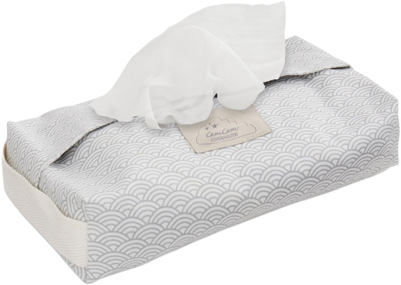Feuchttücherbezug Wave aus Bio-Baumwolle, Bio-Baumwolle, GOTS-zertifiziert, Grau, Weiß, B 25 x T 17 cm