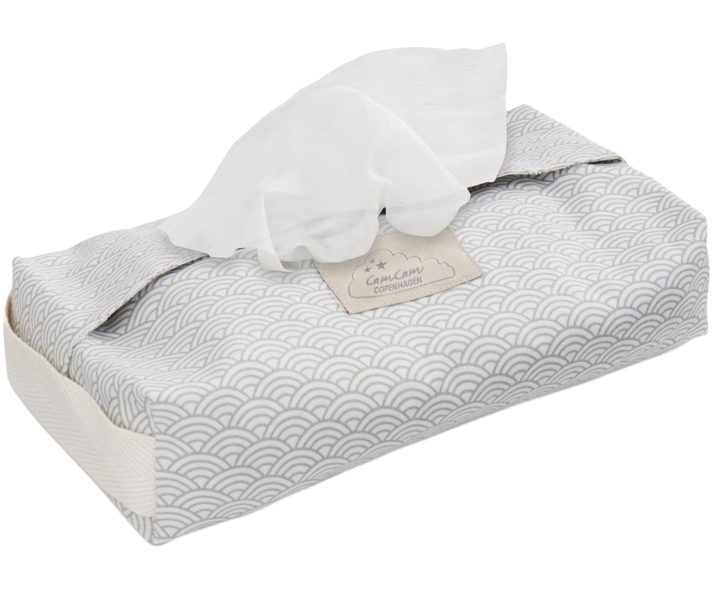 Porta salviettine in cotone organico Wave, Cotone organico, certificato GOTS, Grigio, bianco, Larg. 25 x Prof. 17 cm