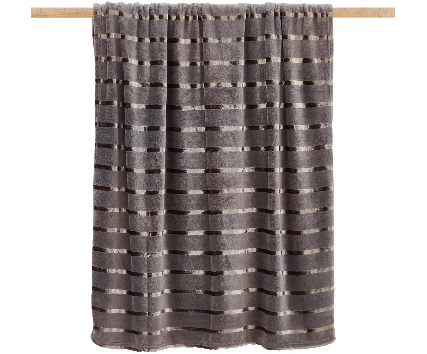 Weiches Fleece-Plaid Clyde mit schimmernden Streifen, 100% Polyester, Anthrazit, 130 x 160 cm
