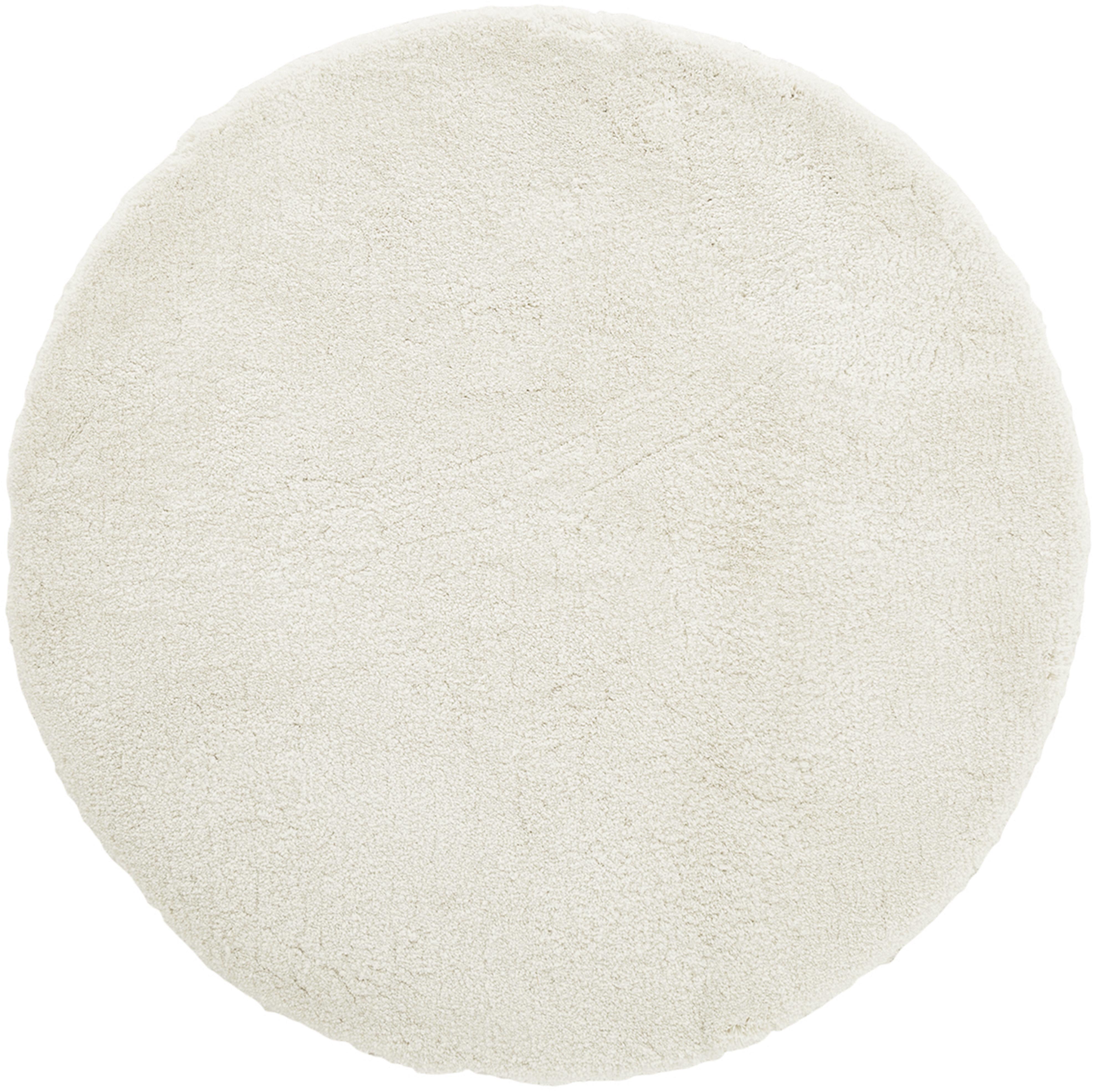 Flauschiger runder Hochflor-Teppich Leighton in Creme, Flor: 100% Polyester (Mikrofase, Creme, Ø 200 cm (Größe L)