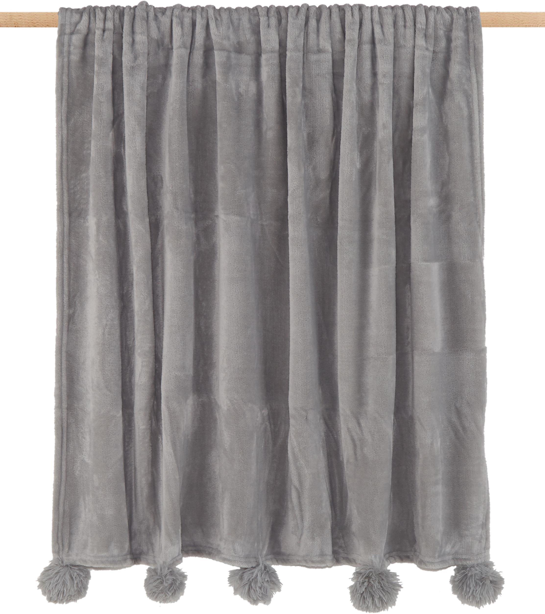 Plaid Bomla, Poliestere, Grigio, Larg. 130 x Lung. 170 cm