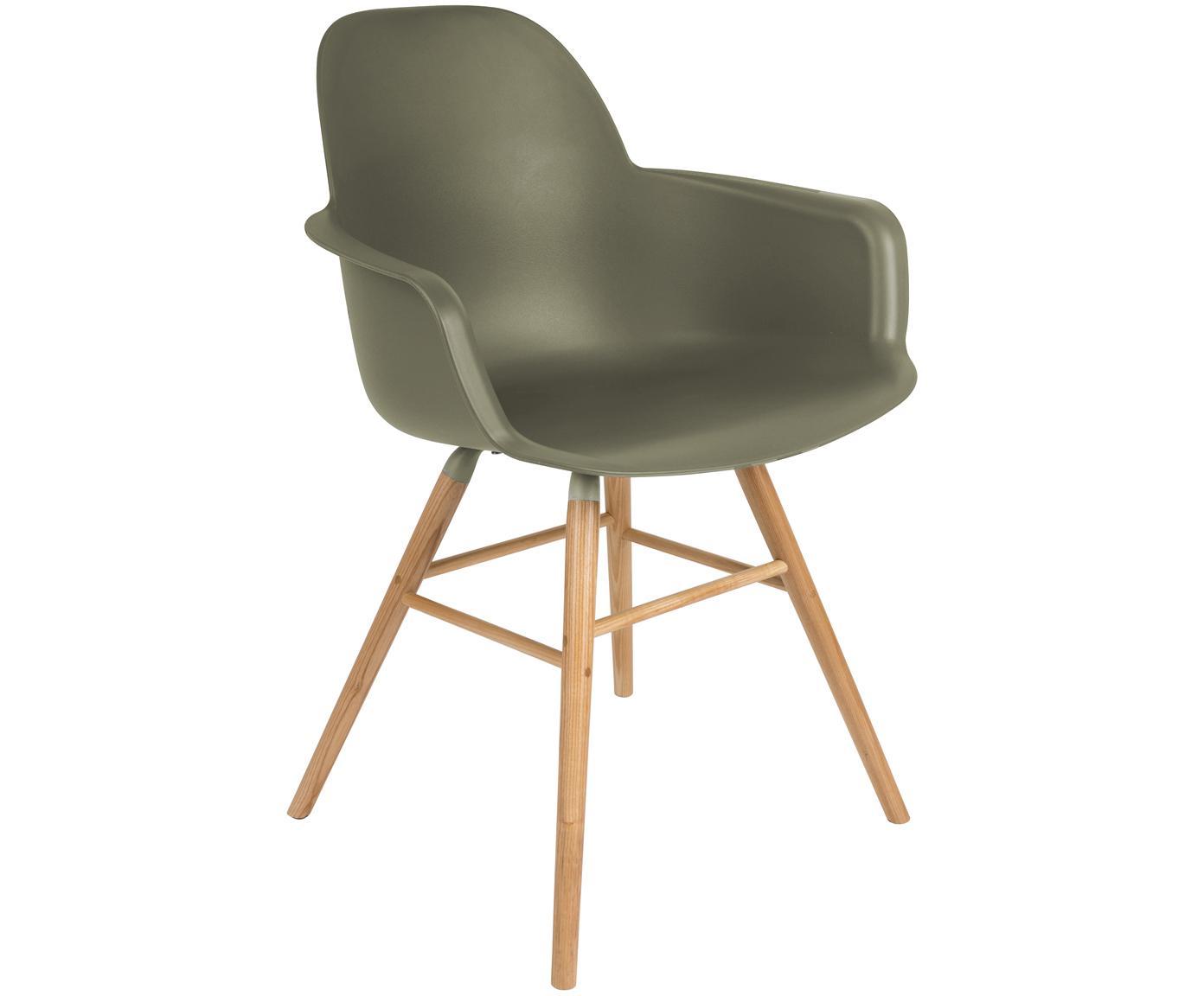 Sedia con braccioli Albert Kuip, Seduta: polipropilene, Gambe: legno di frassino, Verde, Larg. 59 x Prof. 55 cm