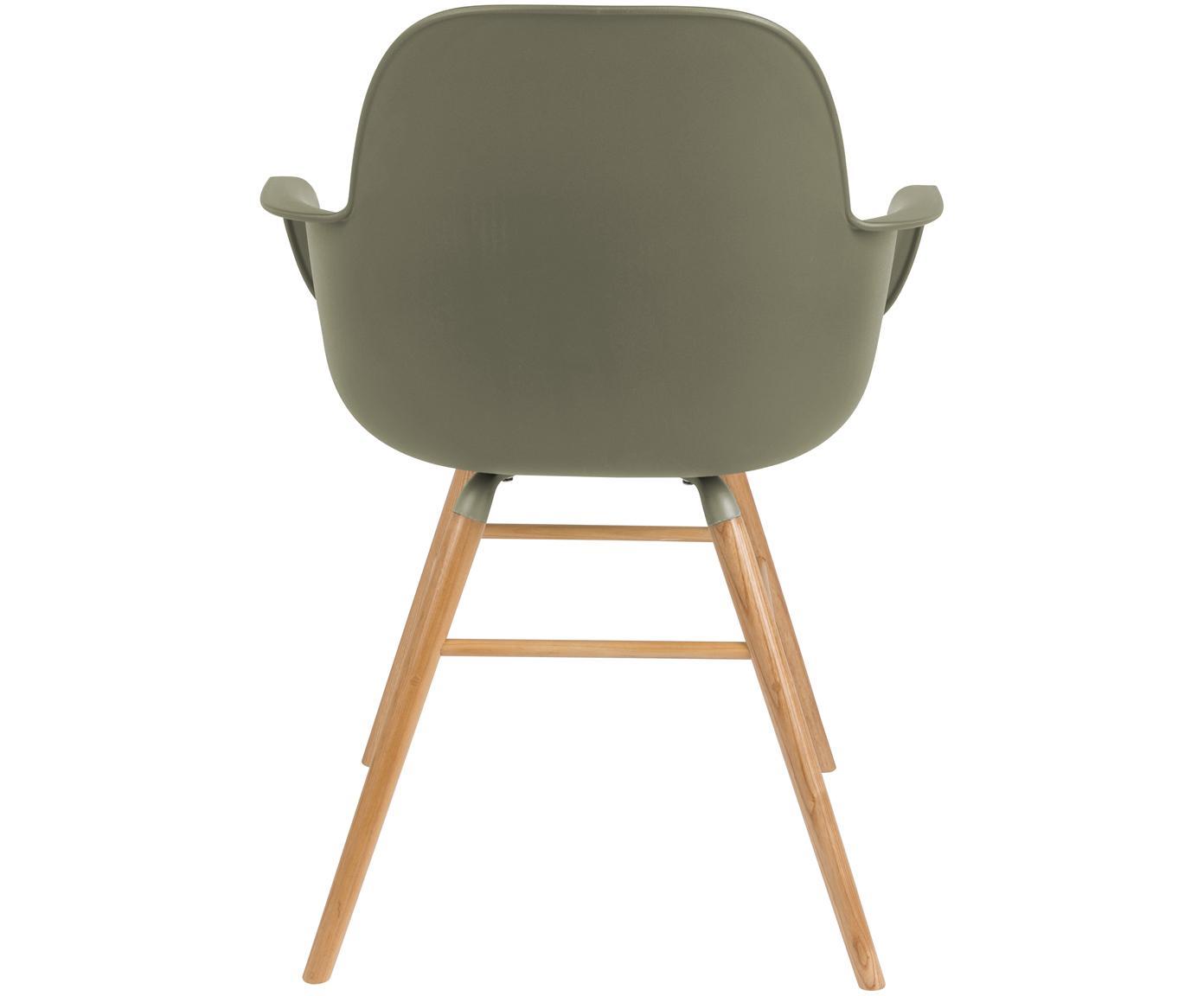 Armlehnstuhl Albert Kuip mit Holzbeinen, Sitzfläche: Polypropylen, Beine: Eschenholz, Grün, B 59 x T 55 cm