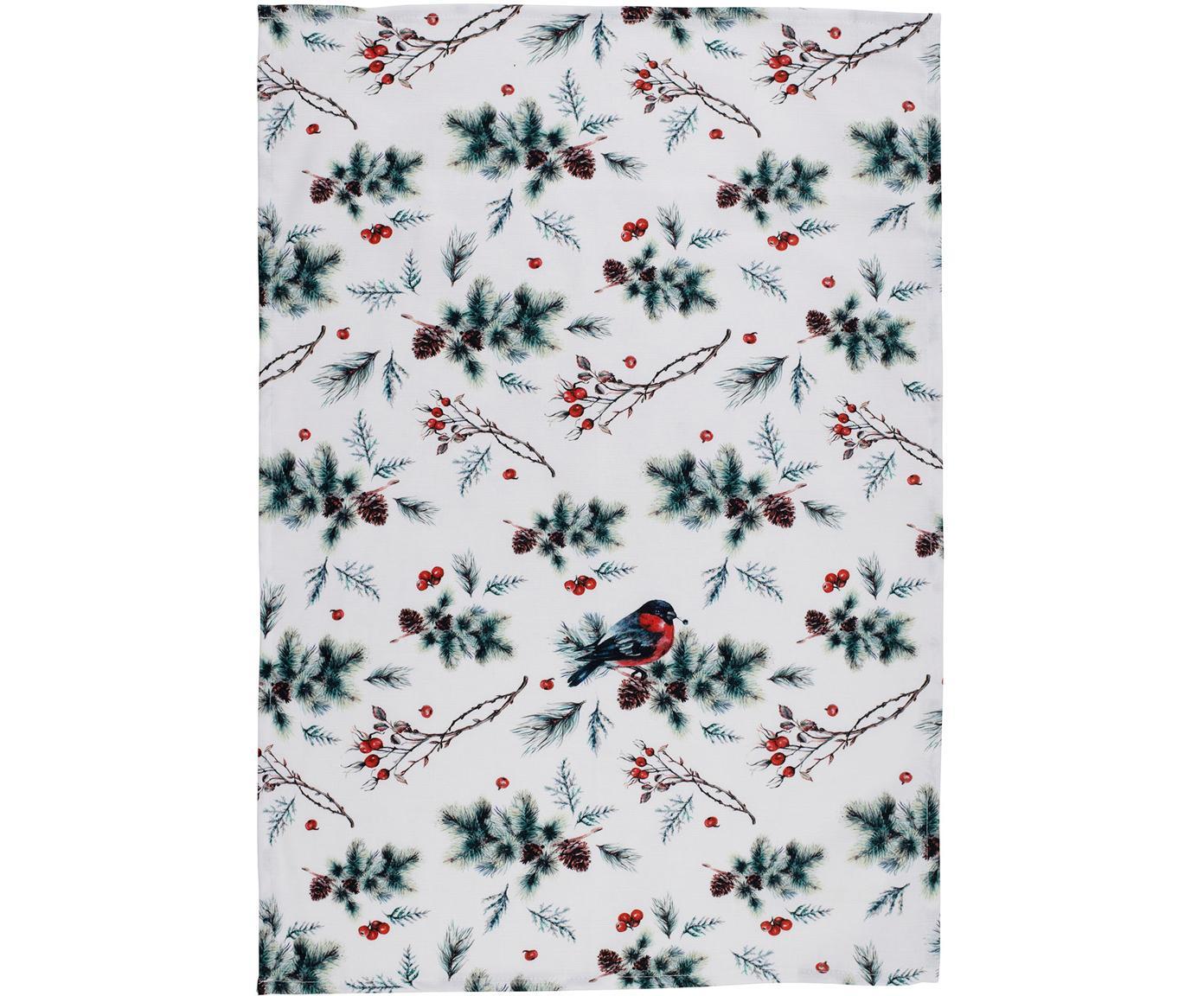 Geschirrtücher Aubepine mit winterlichen Motiven, 2 Stück, Baumwolle, Grün, Rot, 50 x 70 cm