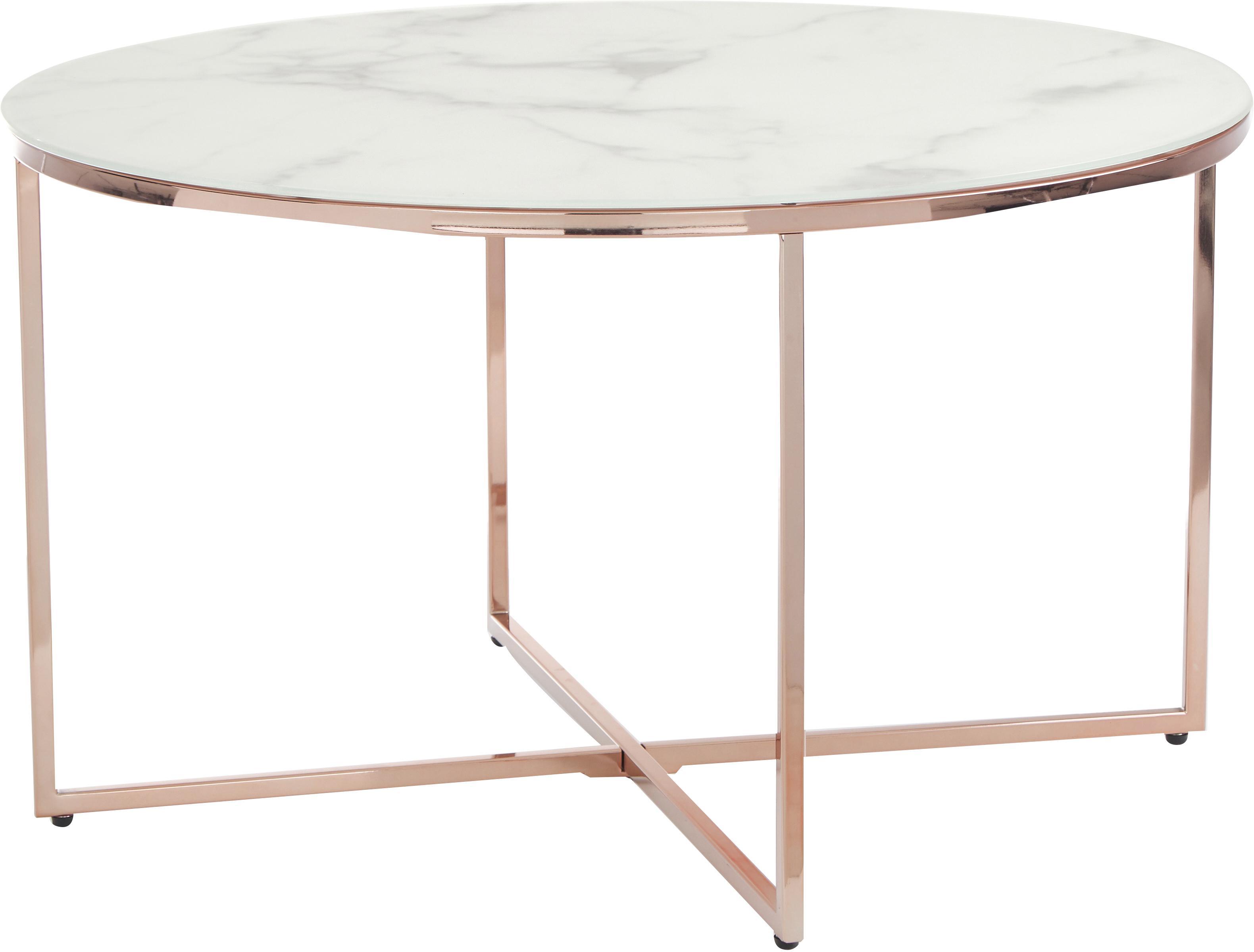 Salontafel Antigua met glazen tafelblad met marmerlook, Tafelblad: mat bedrukt glas, Frame: vermessingd staal, Wit-grijs gemarmerd, roségoudkleurig, Ø 80 x H 45 cm