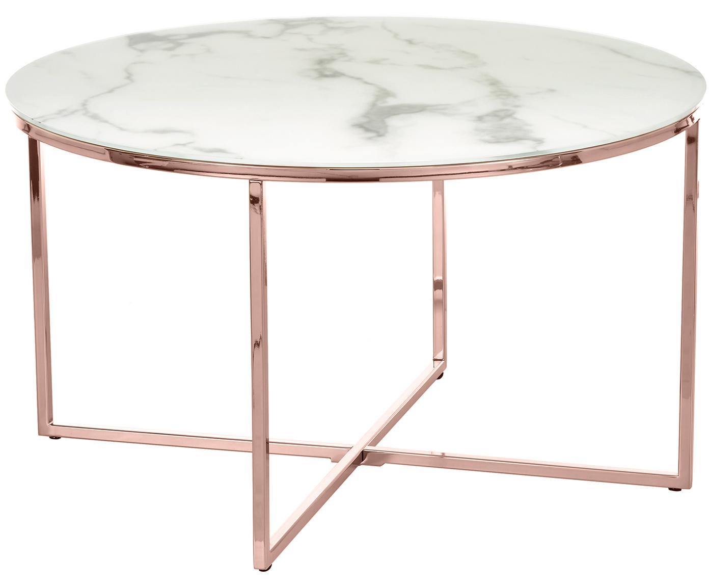 Mesa de centro Antigua, tablero de cristal en aspecto mármol, Tablero: vidrio estampado con aspe, Estructura: acero, latón, Mármol blanco grisaceo, rosa dorado, Ø 80 x Al 45 cm
