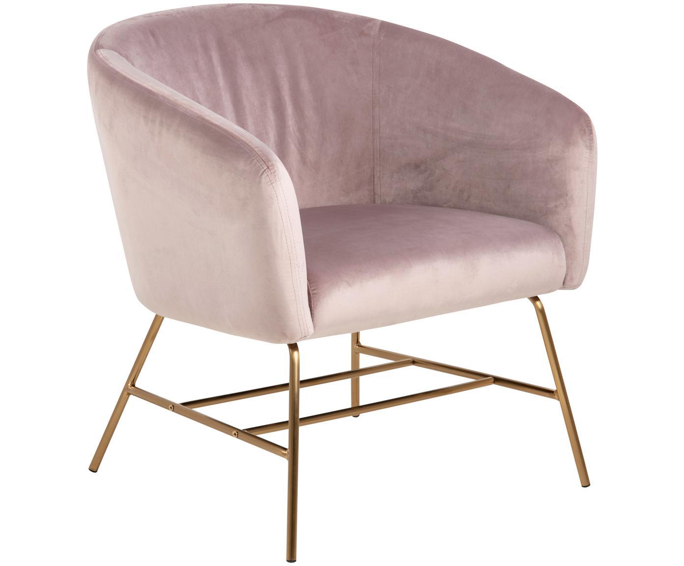 Moderne fluwelen fauteuil Ramsey in roze, Bekleding: polyester fluweel, Poten: gelakt metaal, Roze, messingkleurig, B 72 x D 67 cm