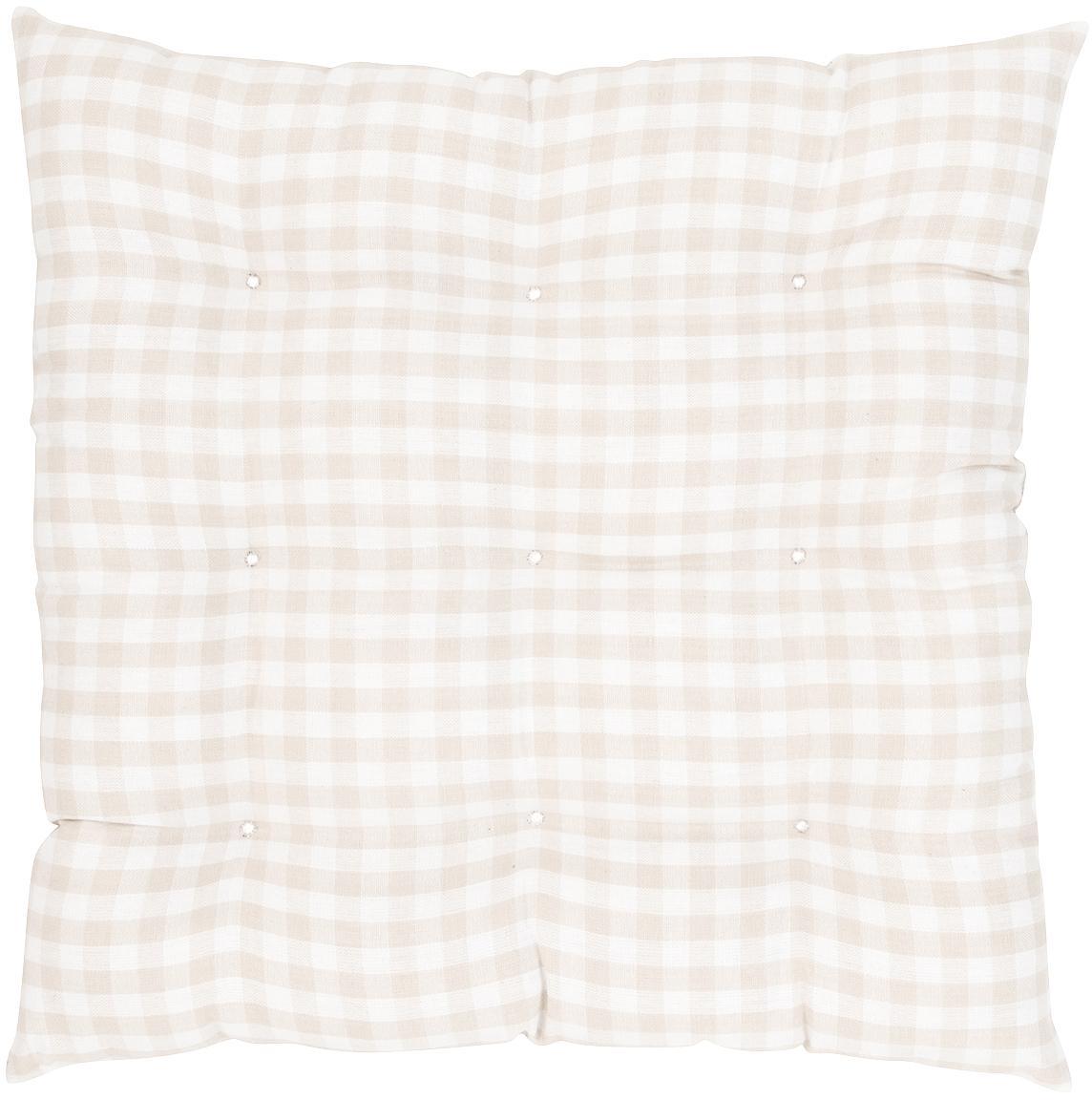 Geruit stoelkussen Karolin, Beige, crèmewit, 40 x 40 cm