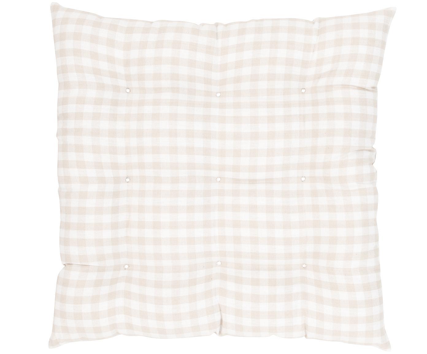 Cuscino sedia a quadretti Karolin, Beige, bianco crema, Larg. 40 x Lung. 40 cm