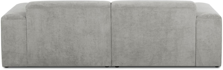 Cord-Ecksofa Melva (3-Sitzer), Bezug: Cord (92% Polyester, 8% P, Gestell: Massives Kiefernholz, Spa, Füße: Kiefernholz, Cord Grau, B 240 x T 144 cm