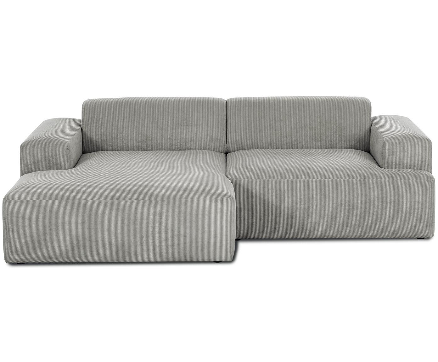 Cord-Ecksofa Melva (3-Sitzer), Bezug: Cord (92% Polyester, 8% P, Gestell: Massives Kiefernholz, Spa, Cord Grau, B 240 x T 144 cm