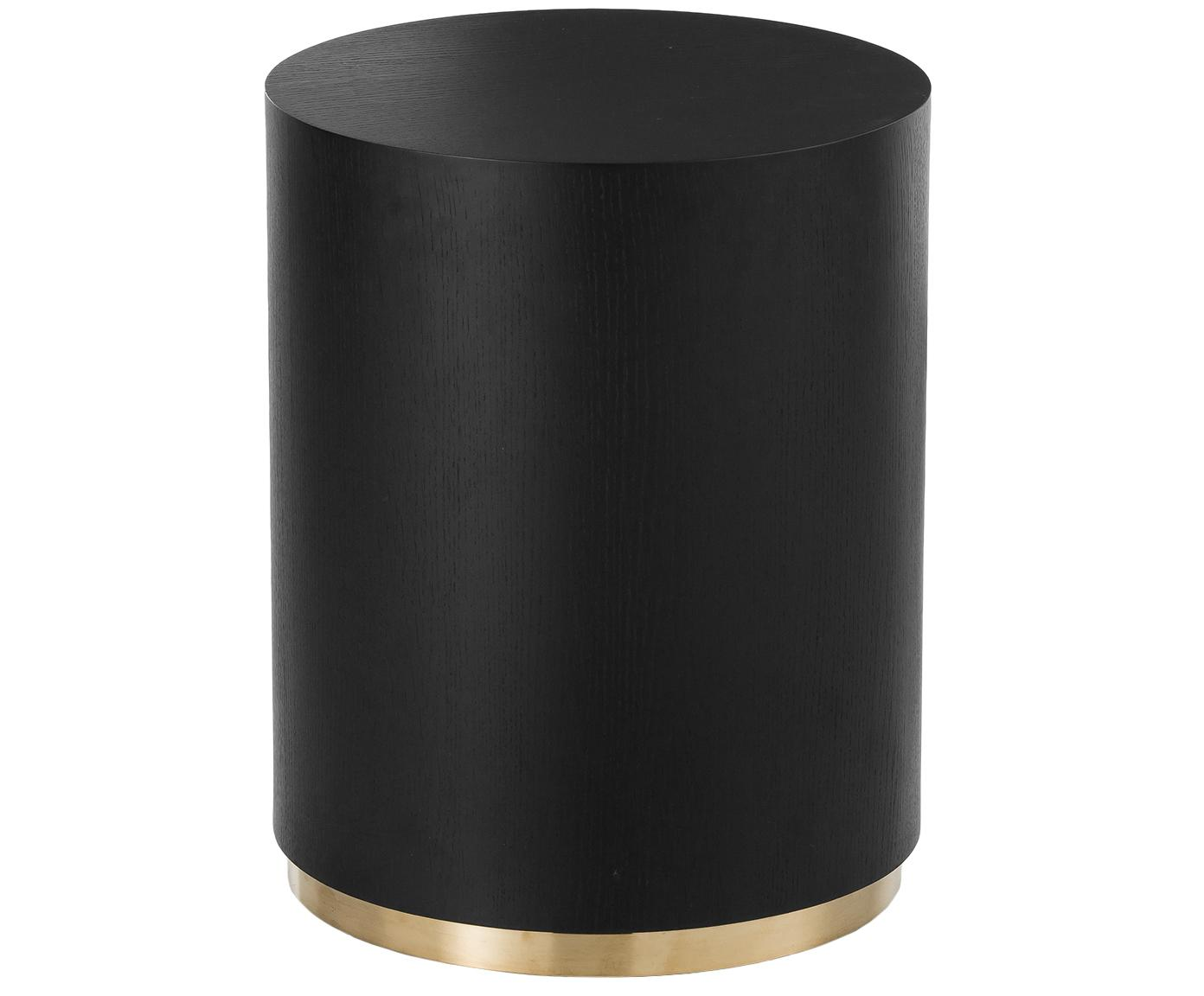 Stolik pomocniczy Clarice, Korpus: płyta pilśniowa średniej , Noga: metal powlekany, Korpus: drewno jesionowe, czarny lakierowany Noga: odcienie złotego, Ø 40 x W 50 cm