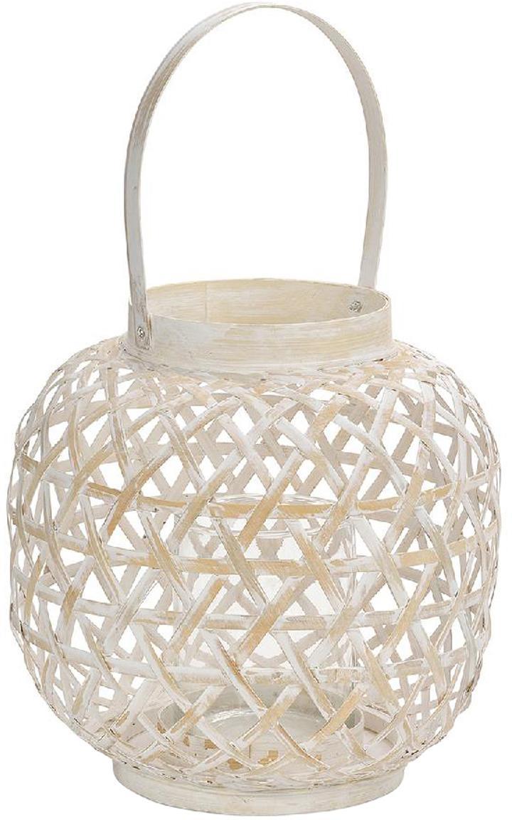 Windlicht Bamboo, Bamboe, Wit, beige, Ø 24 x H 39 cm