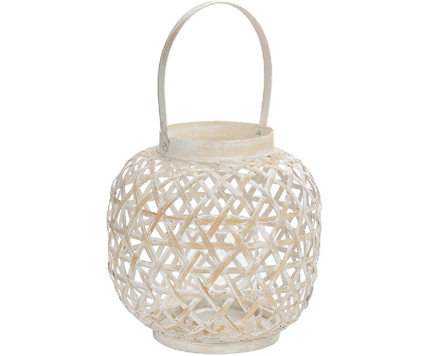 Windlicht Bamboo, Windlicht: Bambus, Weiß, Beige, Ø 24 x H 39 cm