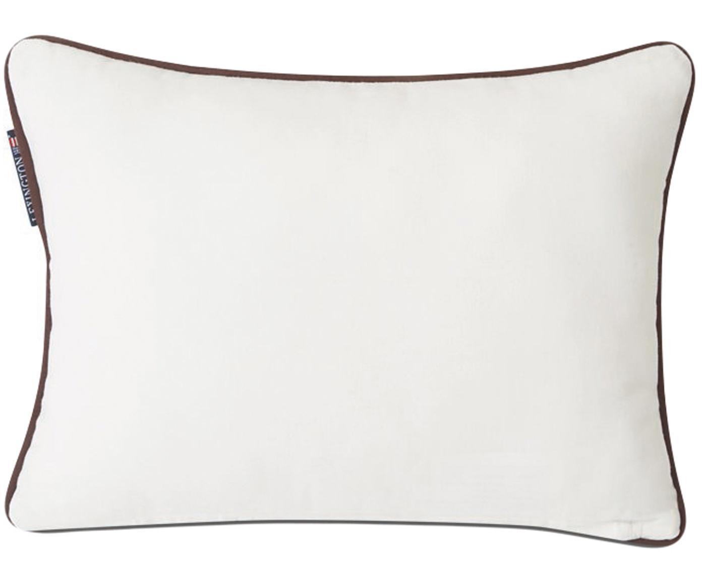 Kussenhoes Inga met bies en opschrift, Katoen, gerecycled polyester, Wit, bruin, 30 x 40 cm