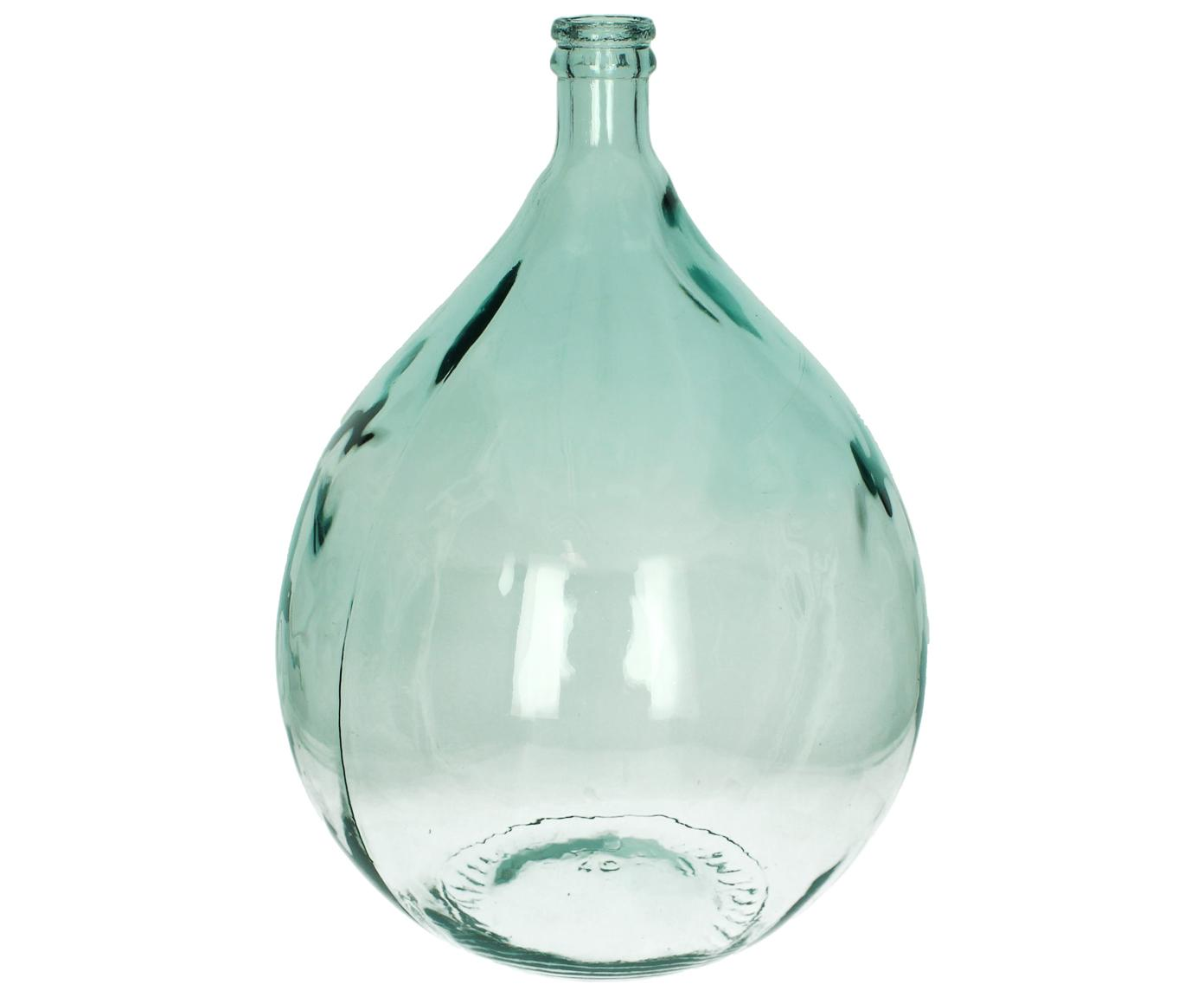 Jarrón de suelo de vidrio reciclado Mikkel, Vidrio reciclado, Azul claro, Al 56 cm