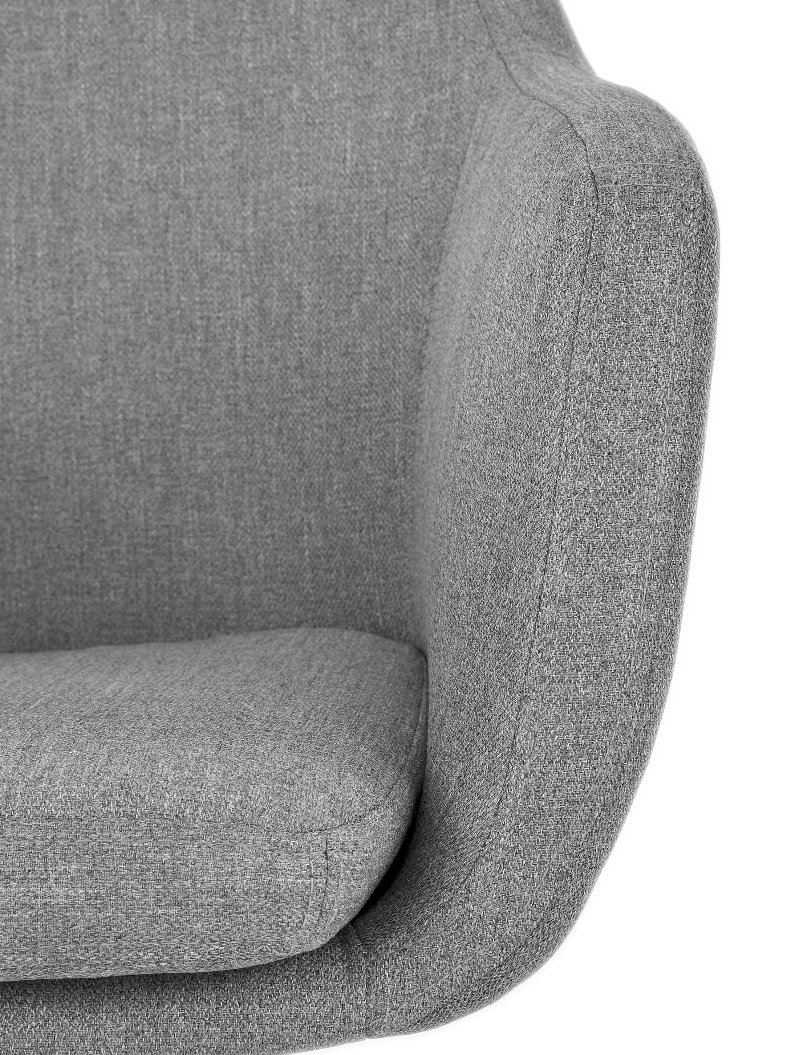 Polster-Drehstuhl Nora mit Armlehne, Bezug: Polyester, Gestell: Metall, pulverbeschichtet, Webstoff Hellgrau, Beine Schwarz, B 58 x T 57 cm