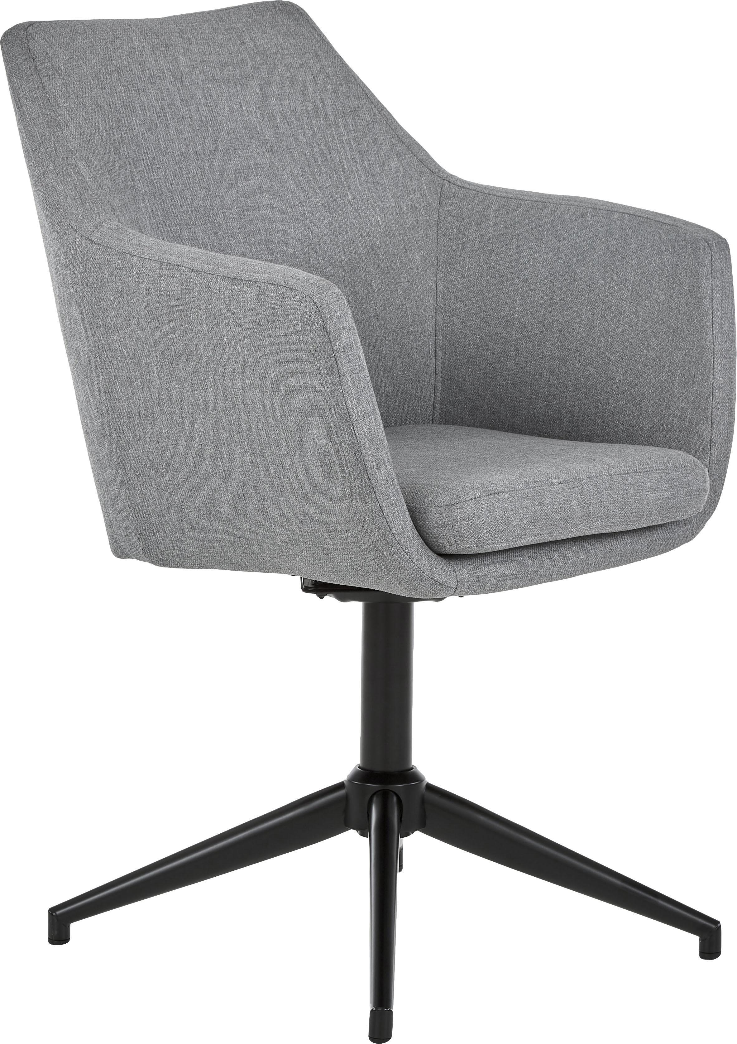 Draaistoel Nora, Bekleding: polyester, Frame: gepoedercoat metaal, Lichtgrijs, zwart, 58 x 57 cm