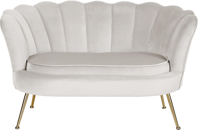 Sofa z aksamitu Oyster (2-osobowa), Tapicerka: aksamit (poliester) 30 00, Stelaż: lite drewno topoli, sklej, Nogi: metal galwanizowany, Aksamitny kremowobiały, S 131 x G 78 cm