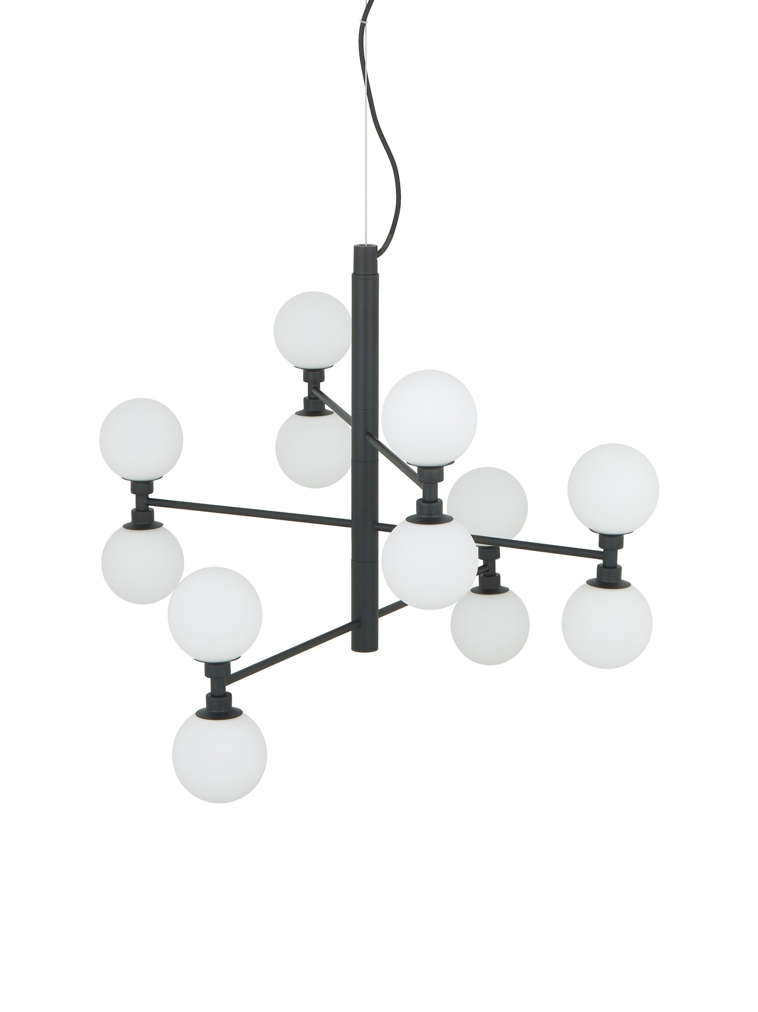 Lampada a sospensione con sfere di vetro Grover, Paralume: vetro, Nero, bianco, Ø 70 x Alt. 56 cm